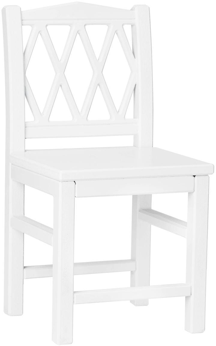 Kinderstoel Harlequin, Gelakt MDF, Wit, 30 x 58 cm
