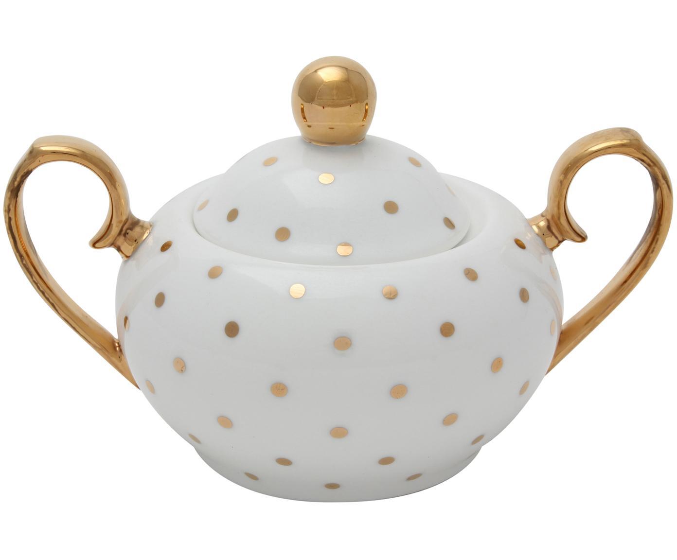Zuccheriera Miss Golightly, Porcellana cinese, dorato, Bianco, dorato, Ø 9 x Alt. 8 cm