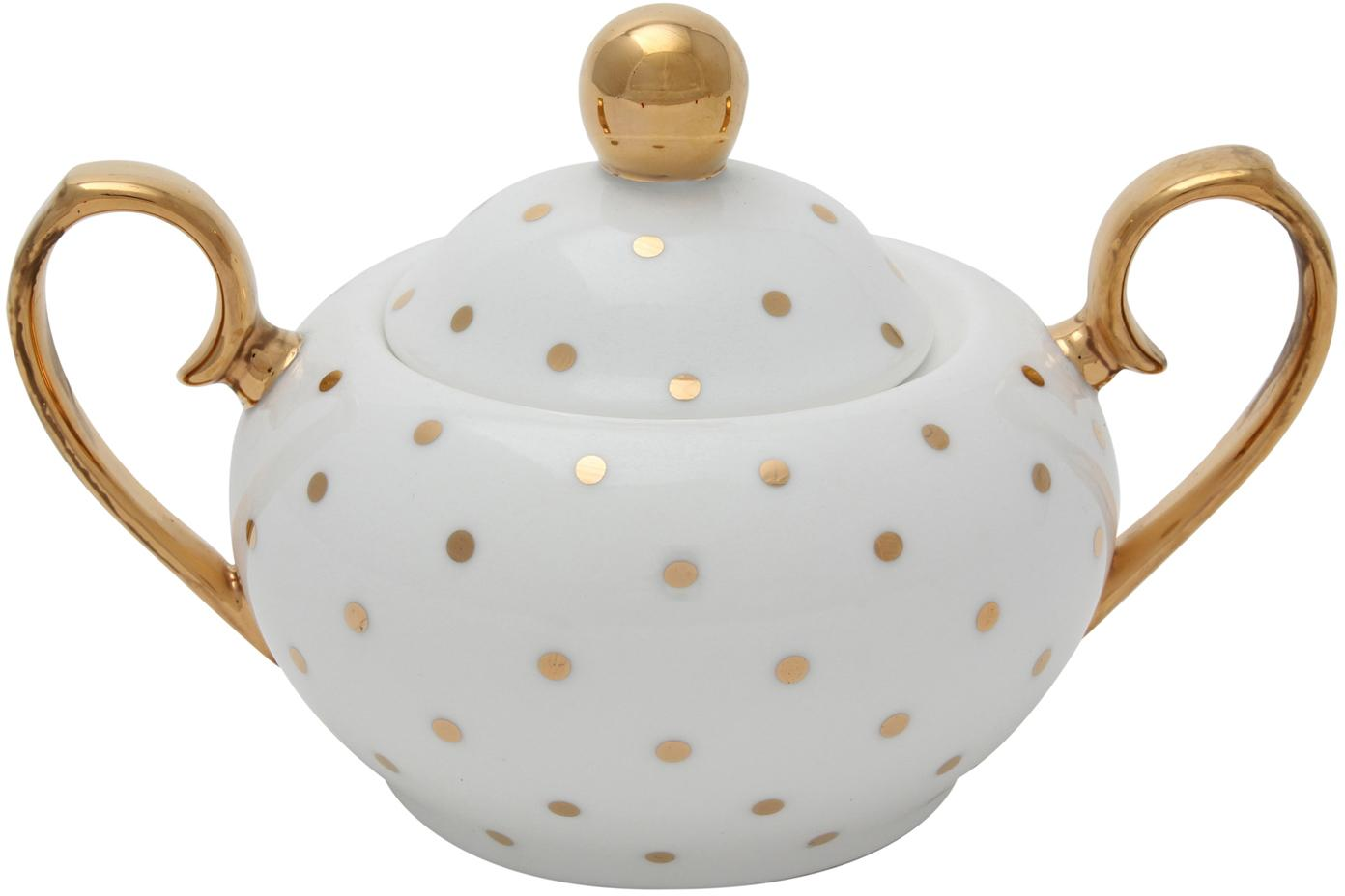 Suikerpot Miss Golightly, Beenderporselein, verguld, Wit, goud, Ø 9 x H 8 cm