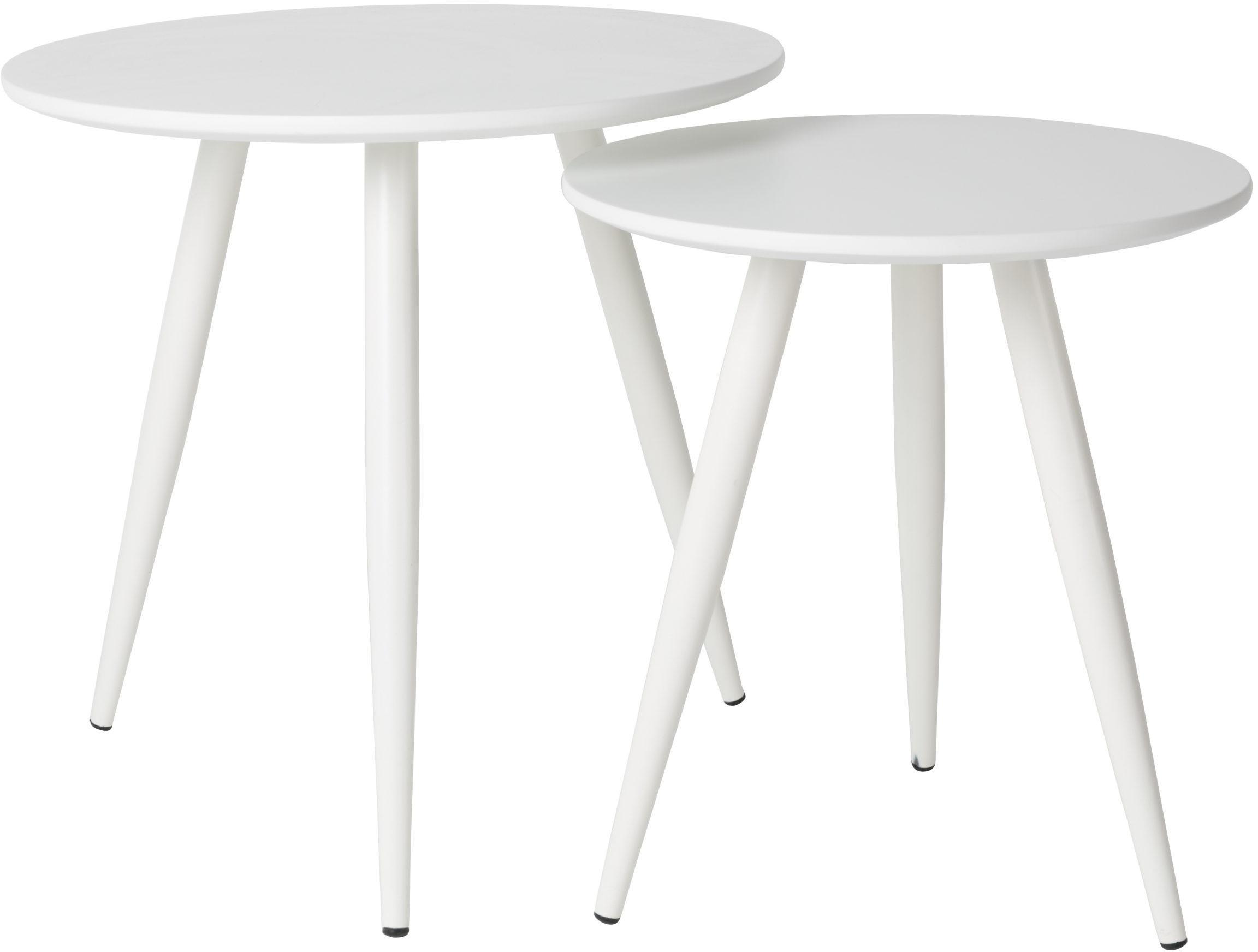Komplet stolików pomocniczych Daven, 2 elem., Blat: płyta pilśniowa średniej , Nogi: metal malowany proszkowo, Biały, Komplet z różnymi rozmiarami