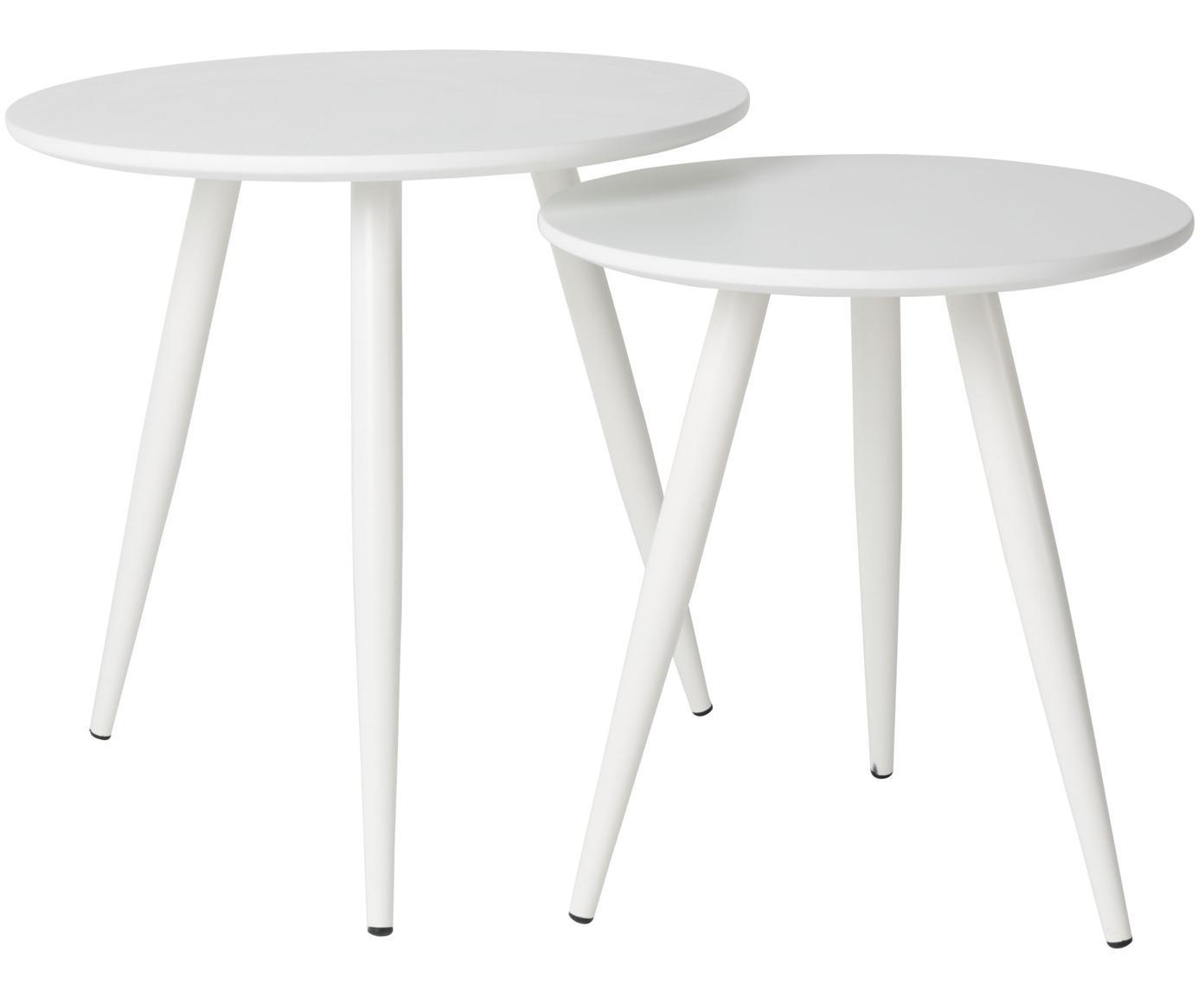 Beistelltisch 2er-Set Daven in Weiß, Tischplatte: Mitteldichte Faserplatte , Beine: Metall, pulverbeschichtet, Weiß, Sondergrößen