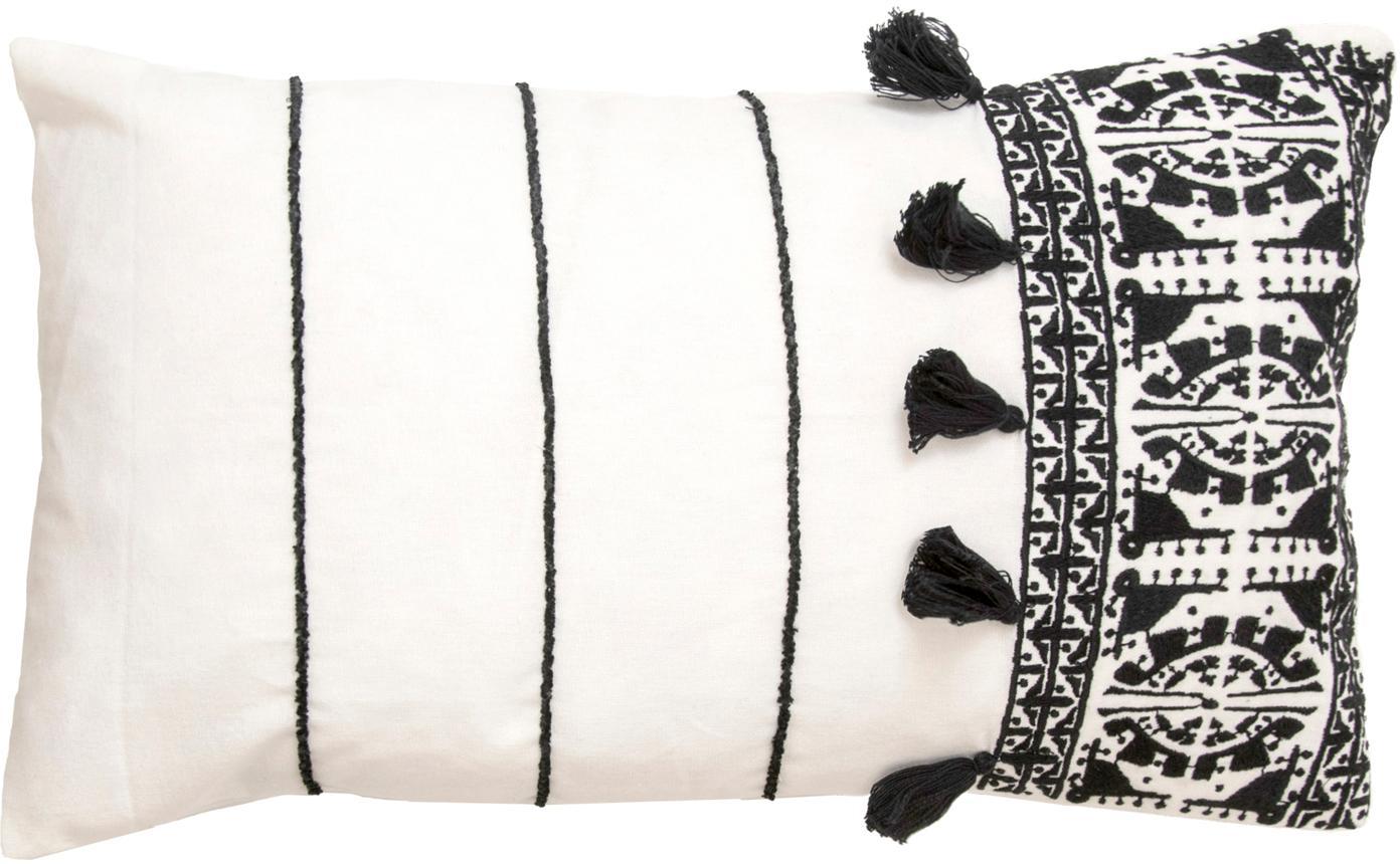 Kissenhülle Neo Berbère mit Stickerei und Quasten, 100% Baumwolle, Weiß, Schwarz, 30 x 50 cm