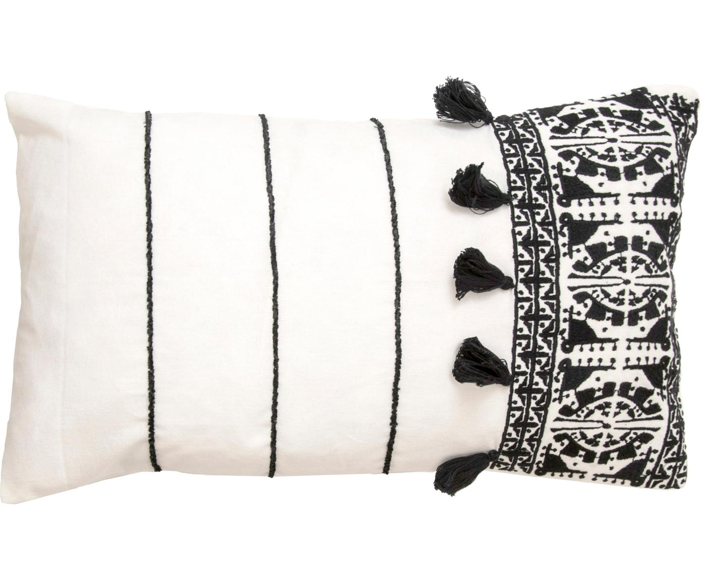 Kussenhoes Neo Berbère met borduurwerk en kwastjes, Katoen, Wit, zwart, 30 x 50 cm