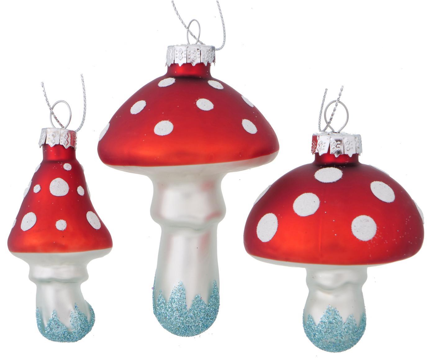 Set de adornos navideños Minamo, 3pzas., Azul claro, blanco, rojo, Set de diferentes tamaños