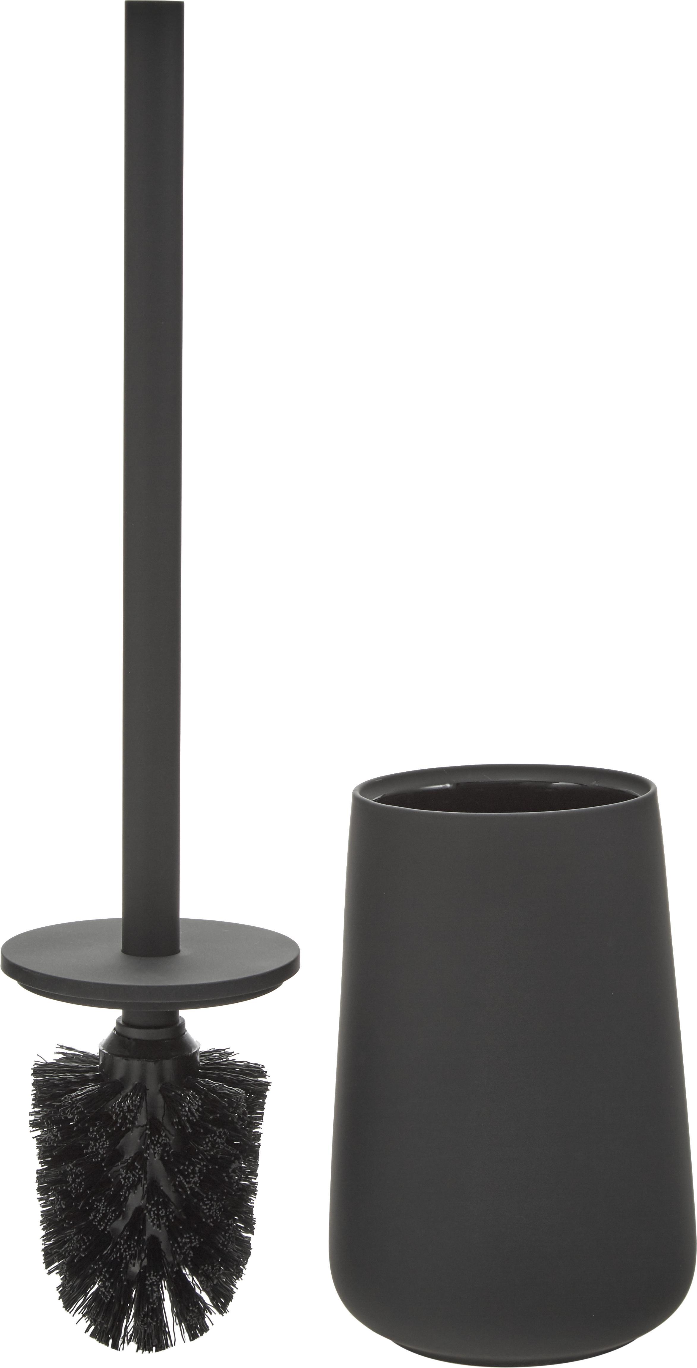 Toilettenbürste Nova One mit Porzellan-Behälter, Behälter: Porzellan, Griff: Edelstahl, matt lackiert, Schwarz, Ø 10 x H 43 cm