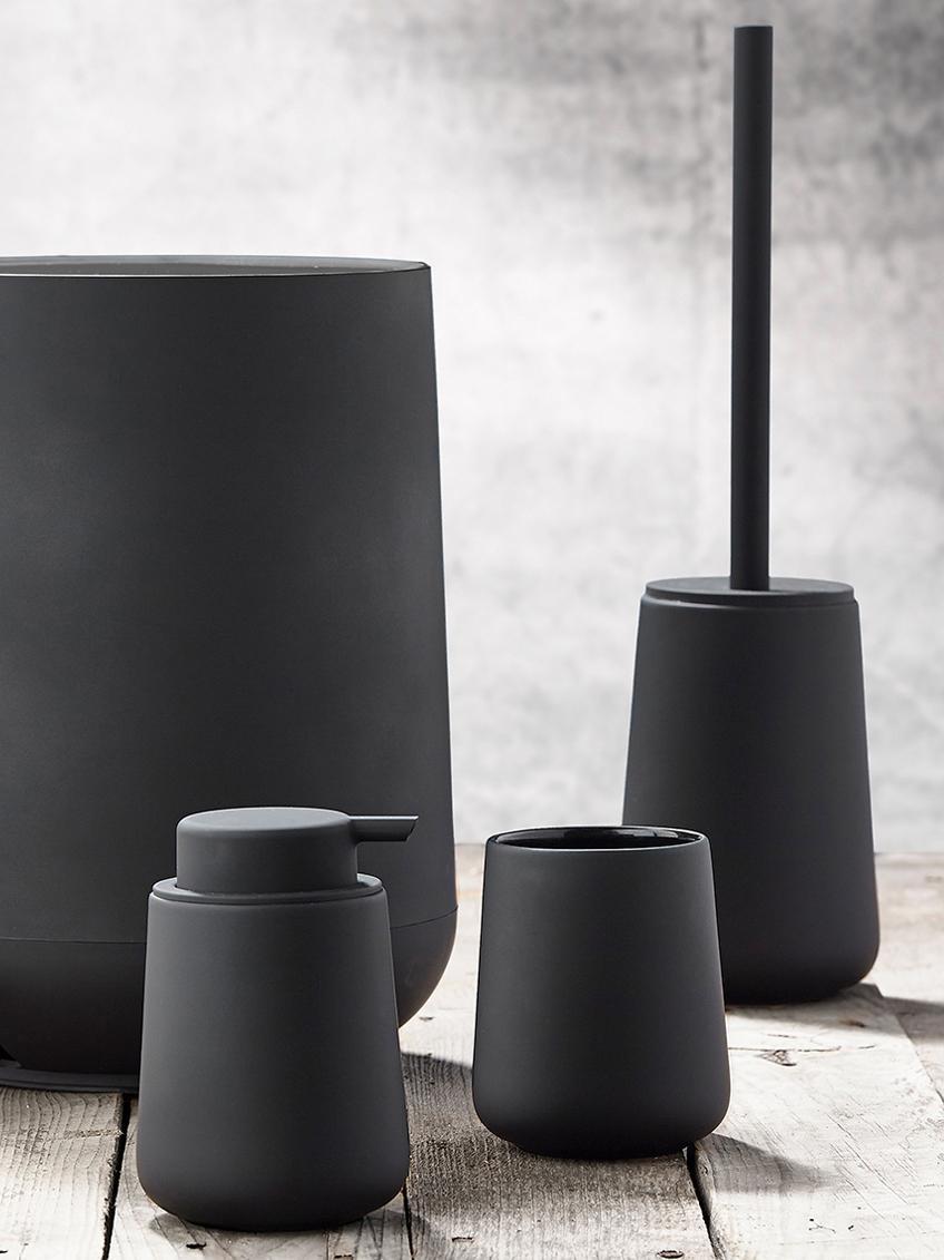 Toiletborstel Nova One met porseleinen houder, Houder: porselein, Zwart, Ø 10 x H 43 cm