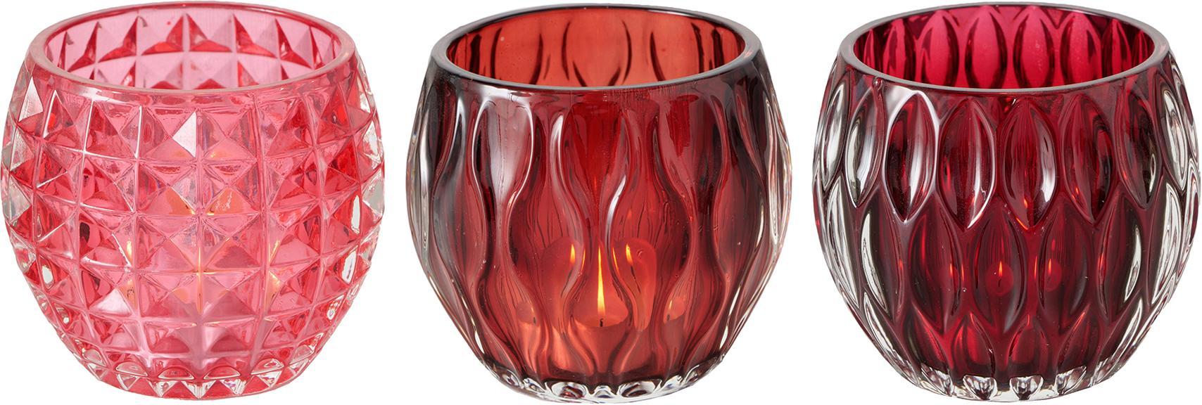 Set 3 portacandele Aliza, Vetro, Rosso, rosa, Ø 10 cm