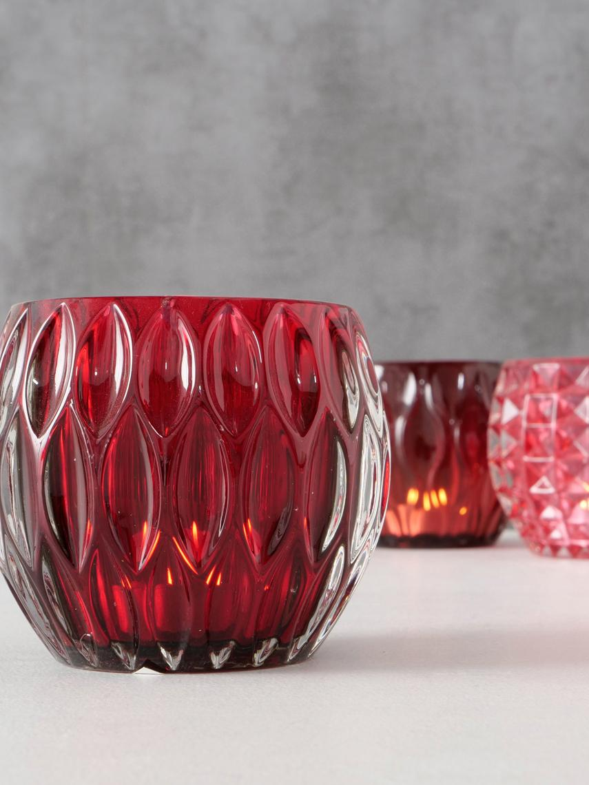 Teelichthalter-Set Aliza, 3-tlg., Glas, Rot, Rosa, Ø 10 cm