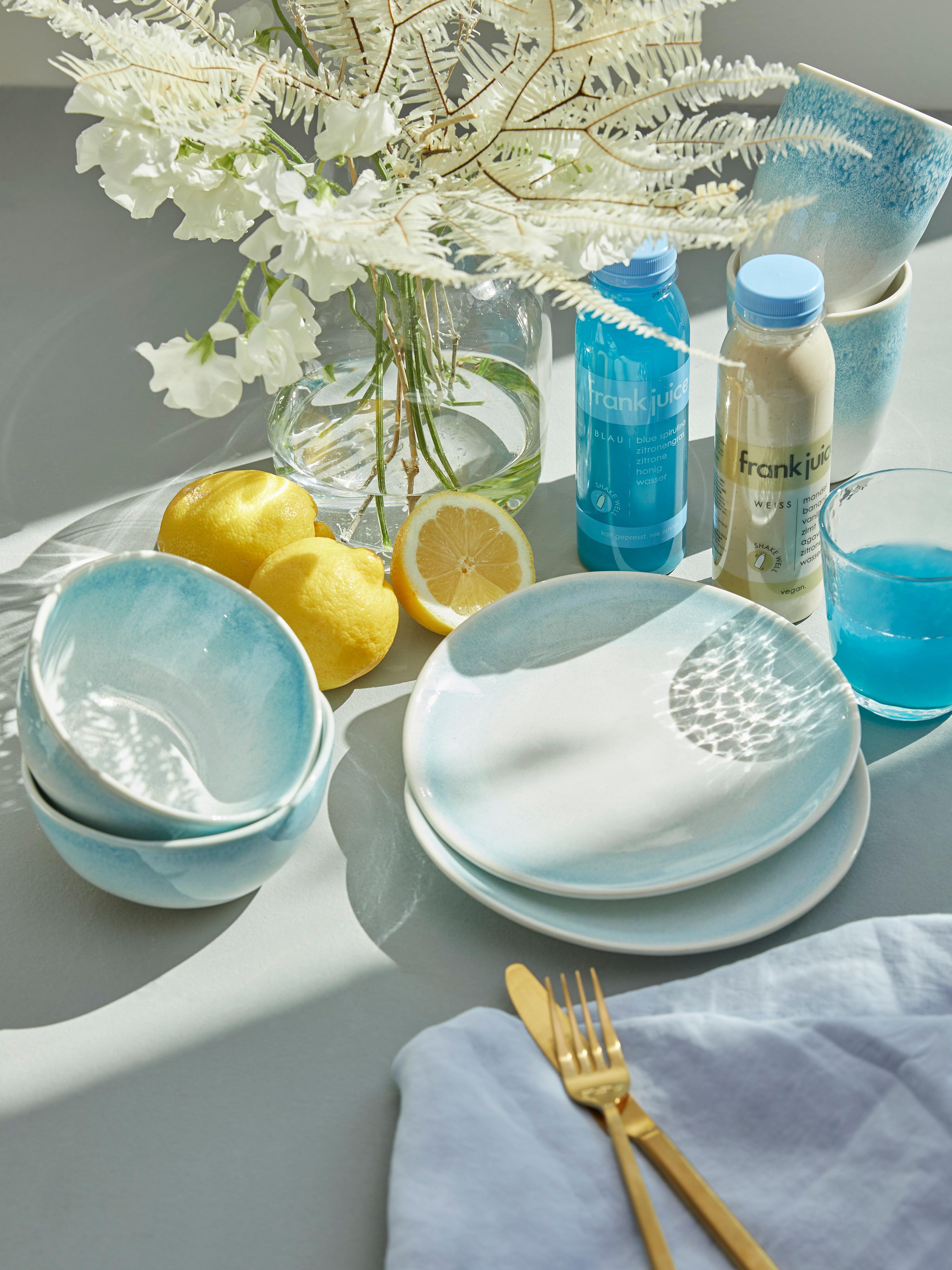 Piattino da dessert fatto a mano Amalia 2 pz, Ceramica, Azzurro, bianco crema, Ø 20 cm