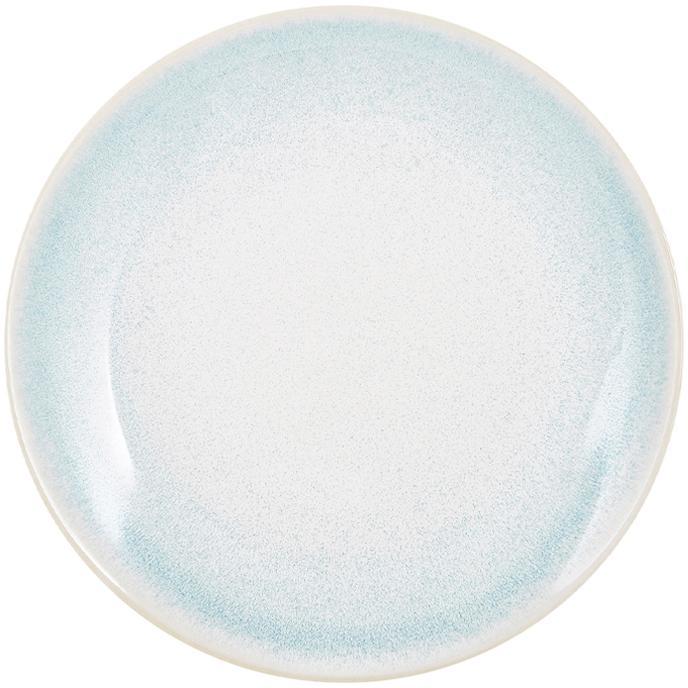 Handgemachte Frühstücksteller Amalia mit effektvoller Glasur, 2 Stück, Porzellan, Hellblau, Cremeweiß, Ø 20 cm