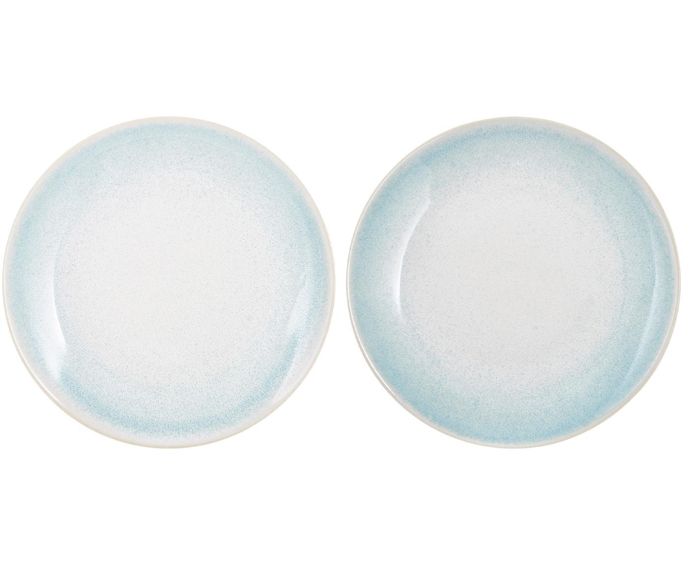 Platos postre artesanales Amalia, 2uds., Cerámica, Azul claro, blanco crema, Ø 20 cm