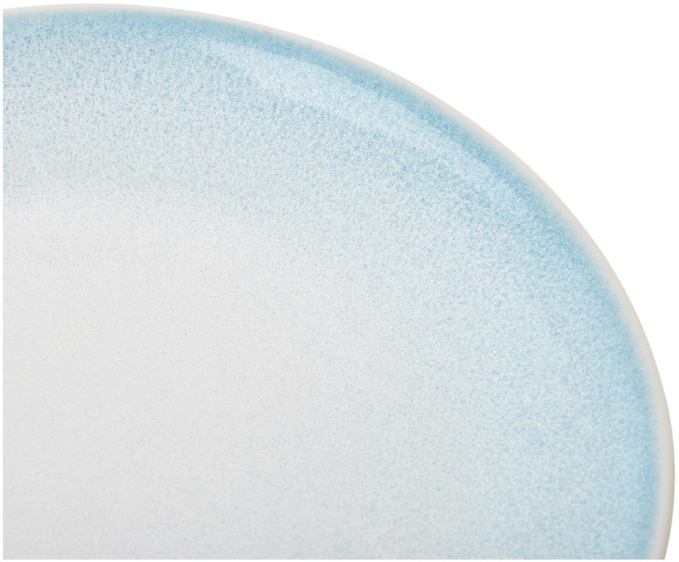 Handgemachte Frühstücksteller Amalia mit effektvoller Glasur, 2 Stück, Porzellan, Hellblau, Cremeweiss, Ø 20 cm