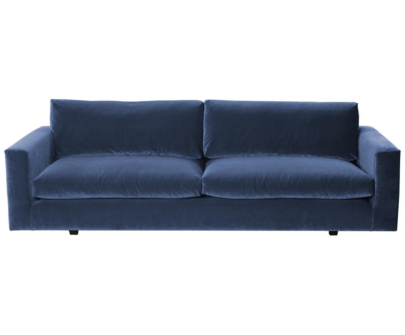 Samt-Sofa Balmira (3-Sitzer), Bezug: Polyester (Samt) 47.000 S, Rahmen: Sperrholz, Massivholz, Beine: Kunststoff, lackiert, Bezug: Blau<br>Beine: Schwarz, 261 x 83 cm