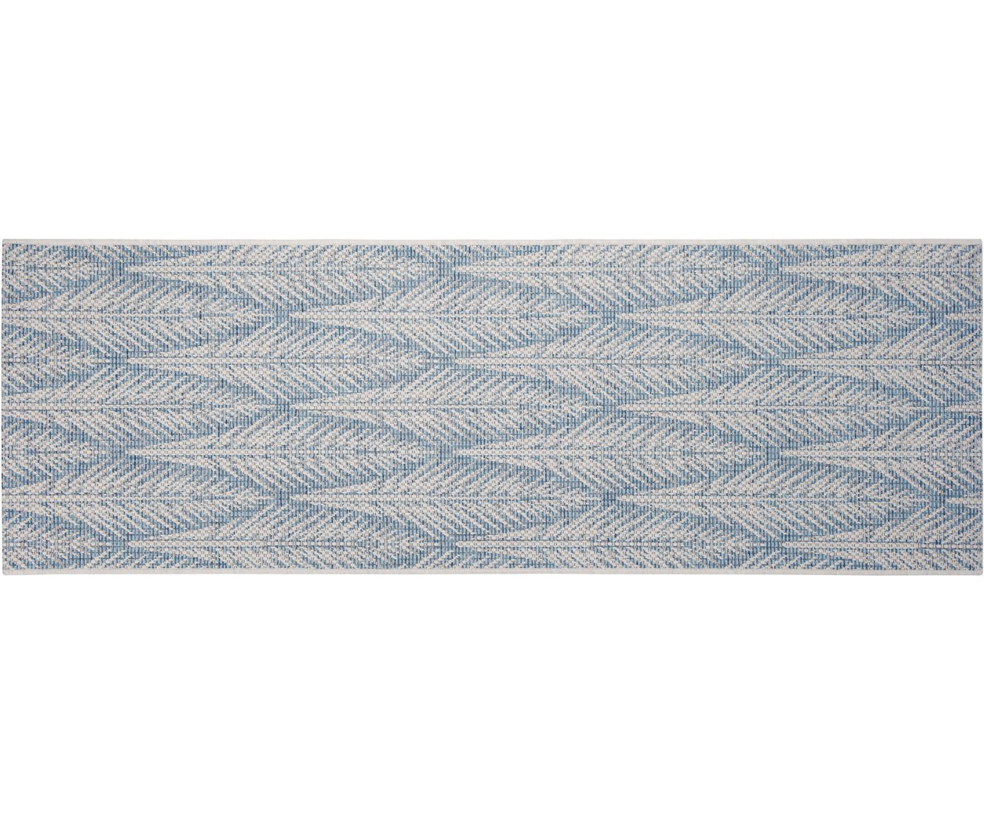 Design In- & Outdoor-Läufer Pella mit grafischem Muster, 100% Polypropylen, Blau, Beige, 70 x 200 cm
