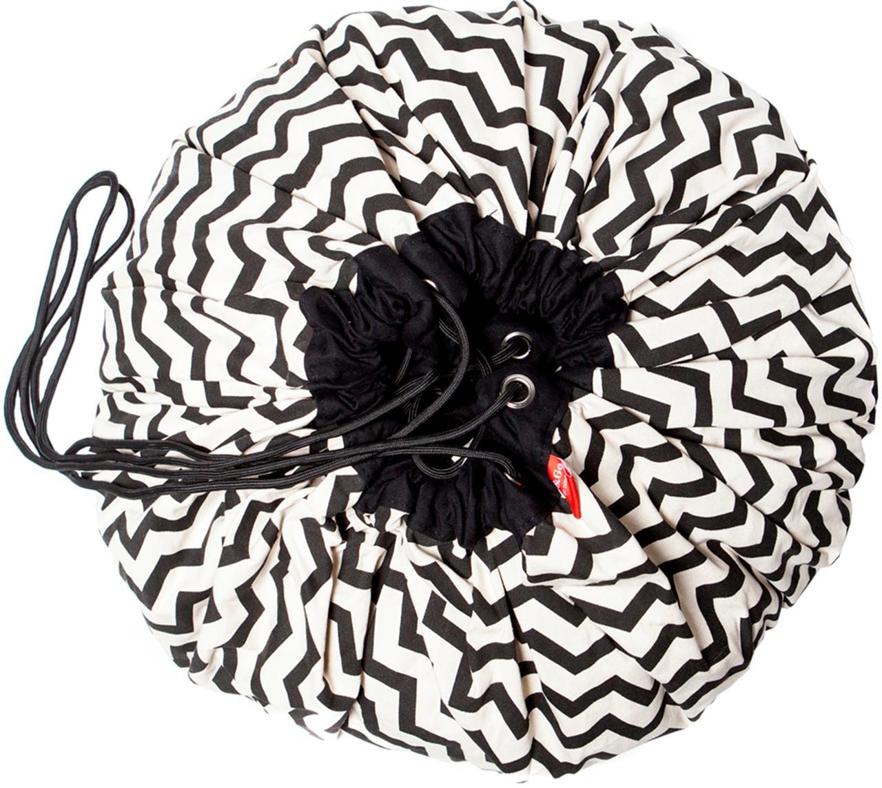 Spieldecke Zigzag, Polyester, Schwarz, Weiß, Ø 140 cm