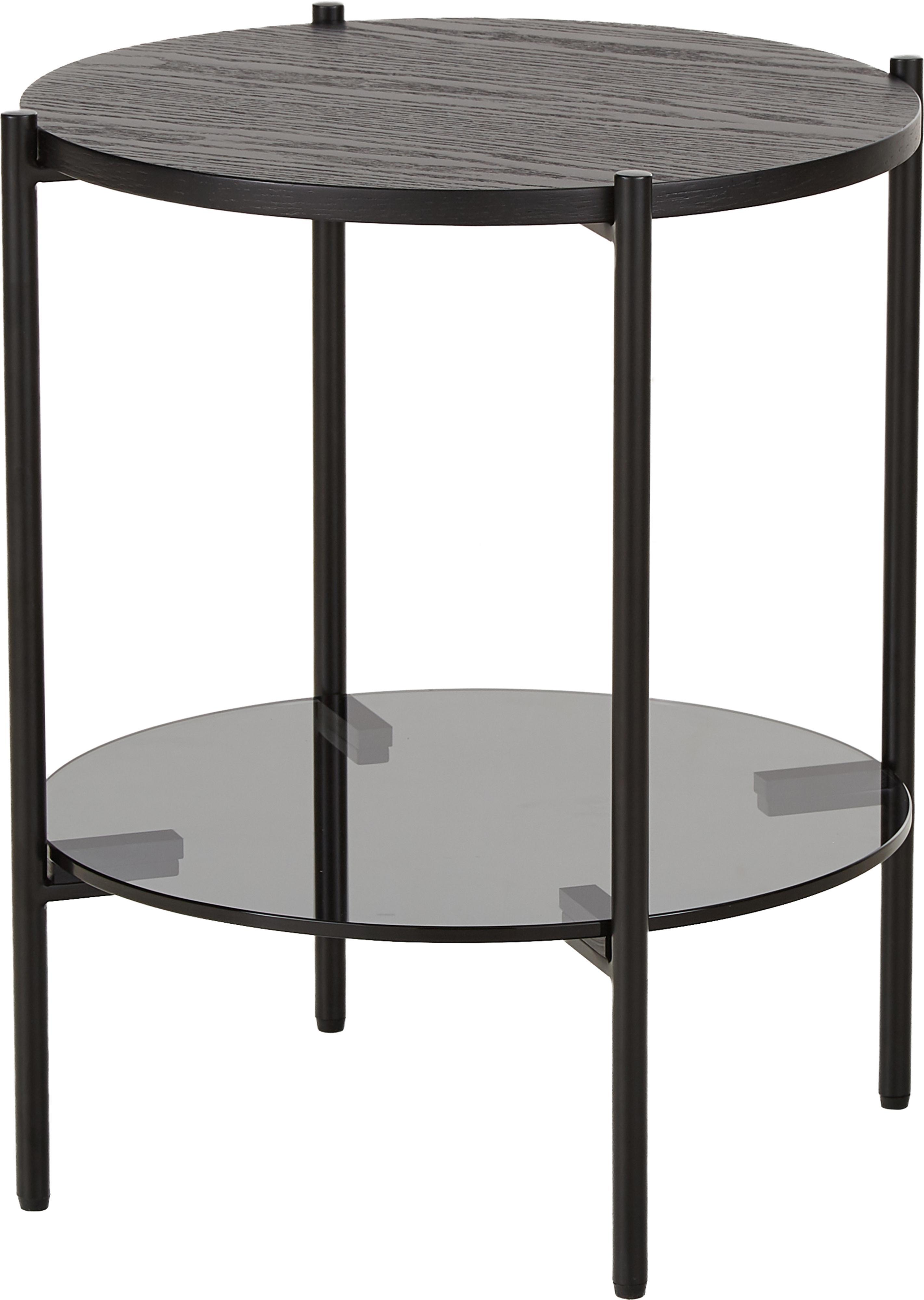 Bijzettafel Valentina met glazen tafelblad, Tafelblad: glas, Plank: MDF, met essenhoutfineer, Frame: gepoedercoat metaal, Zwart, Ø 44 x H 50 cm