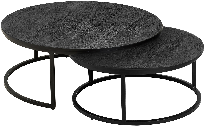 Set 2 tavolini da salotto in legno di mango Andrew, Struttura: metallo verniciato a polv, Ripiani: legno di mango, nero verniciato Struttura: nero opaco, Diverse dimensioni
