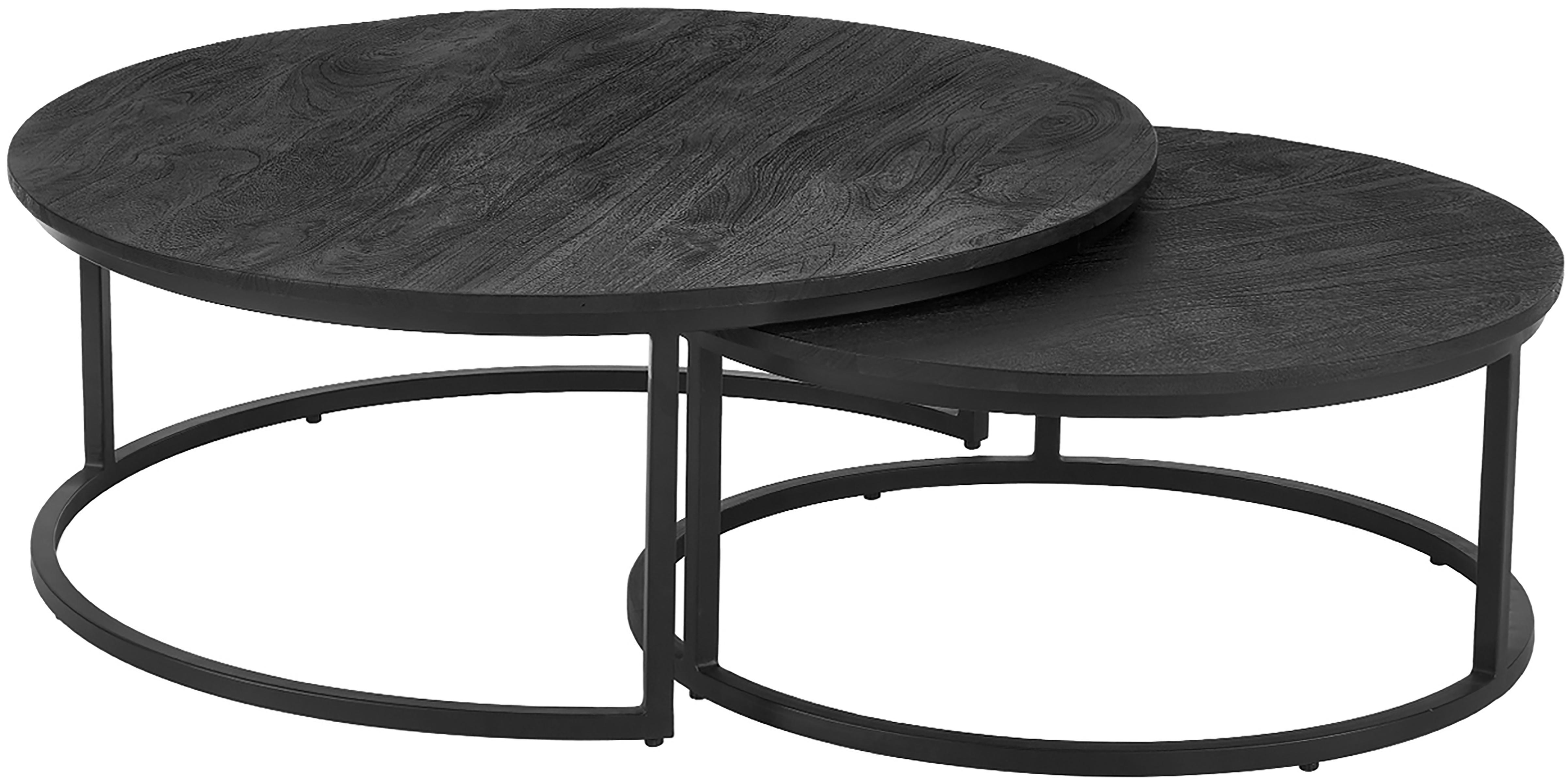 Couchtisch 2er-Set Andrew aus schwarzem Mangoholz, Tischplatten: Mangoholz, schwarz lackiertGestelle: Schwarz, matt, Sondergrößen