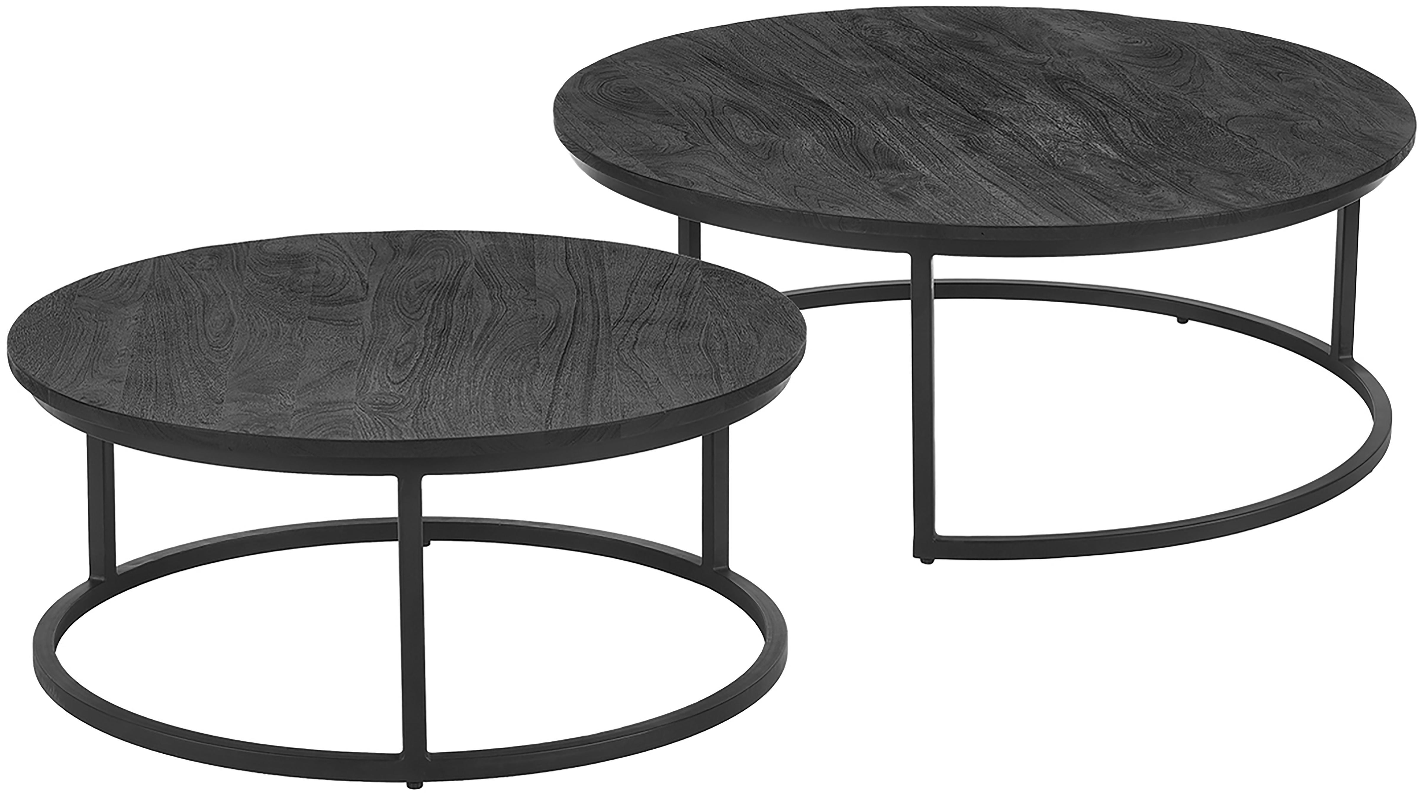 Salontafelset Andrew van zwarte mangohout, 2-delig, Frame: gepoedercoat metaal, Tafelbladen: zwart gelakt mangohout. Frames: mat zwart, Verschillende formaten