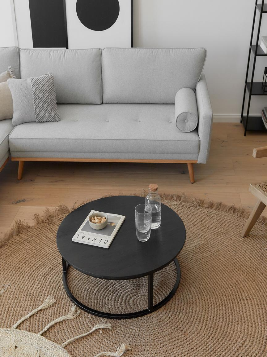 Sada konferenčních stolků zmangového dřeva Andrew, 2 díly, Deska stolu: černé lakované mangové dřevo Rám: matná černá