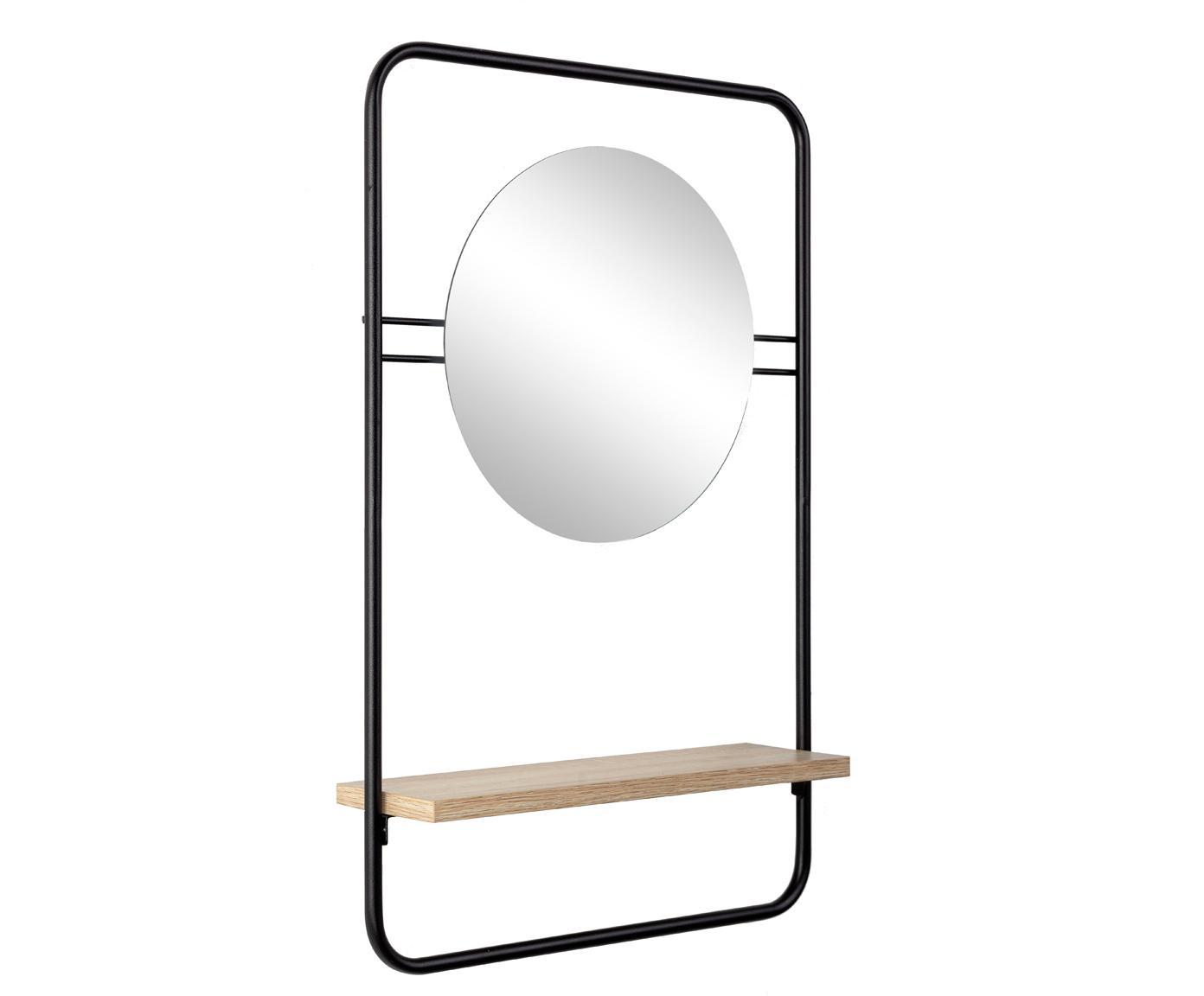 Specchio da parete con mensola Quiete, Cornice: metallo rivestito, Mensola: legno, Superficie dello specchio: lastra di vetro, Nero, legno, Larg. 41 x Alt. 64 cm