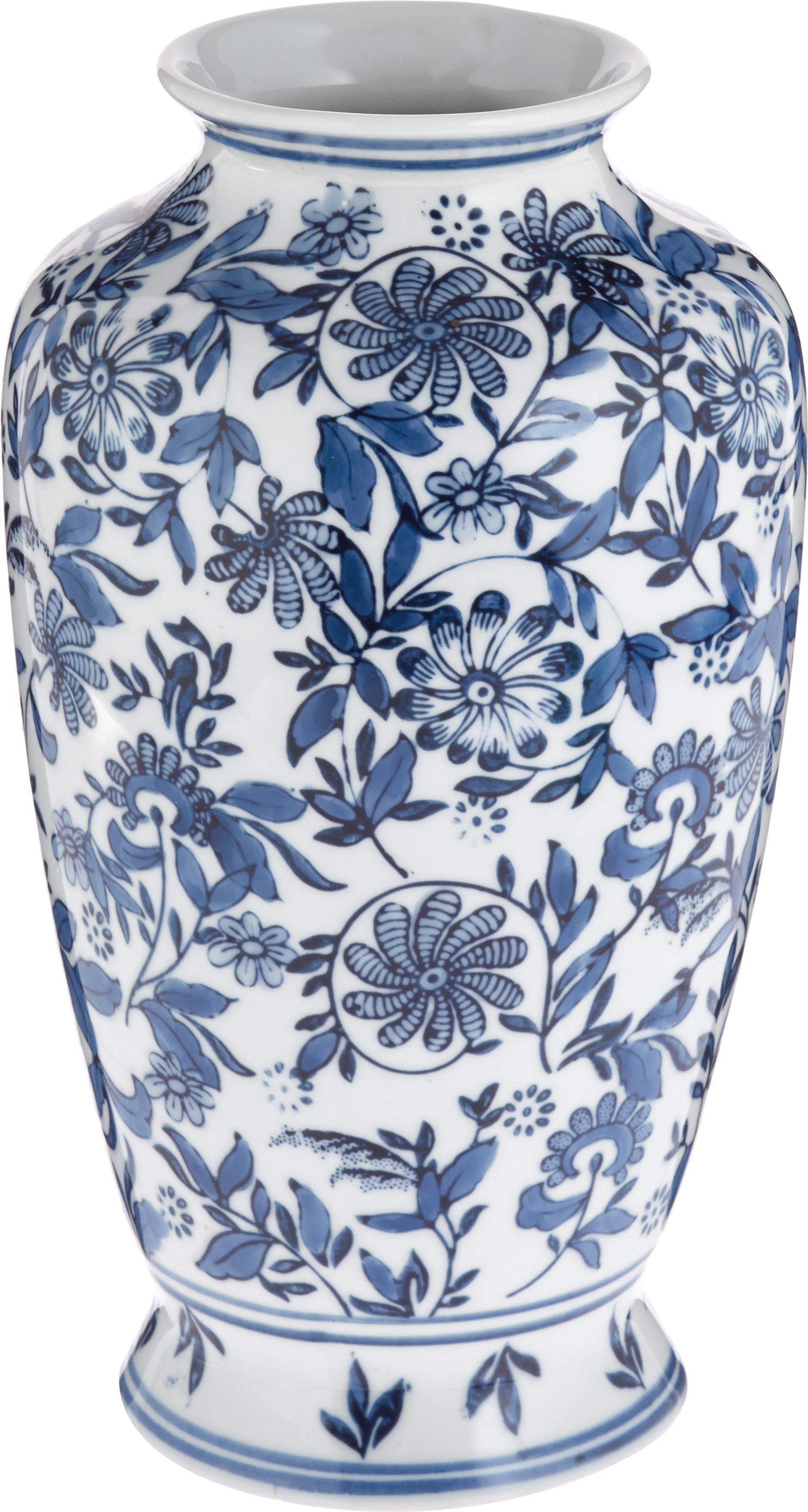 Jarrón de porcelana Lin, grande, Porcelana, no impermeable, Azul, blanco, Ø 16 x Al 31 cm