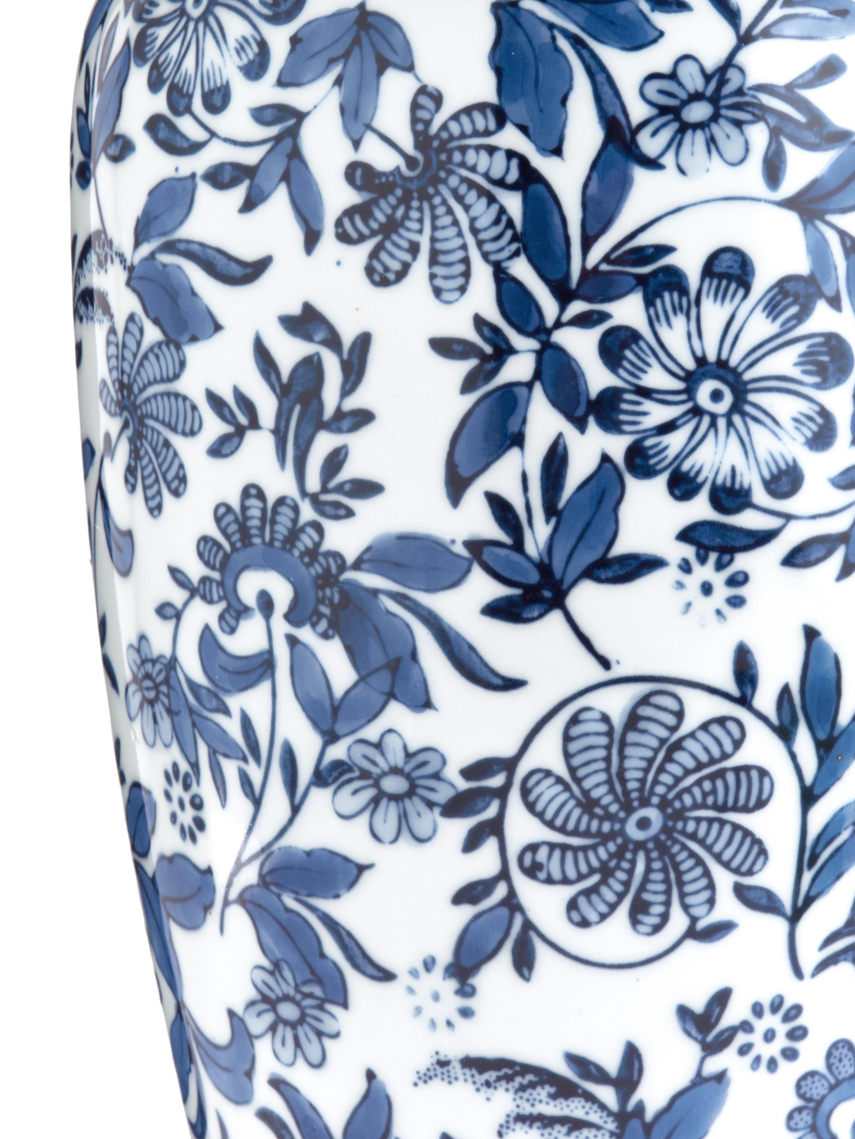 Große Deko-Vase Lin aus Porzellan, Porzellan, nicht wasserdicht, Blau, Weiß, H 31 cm