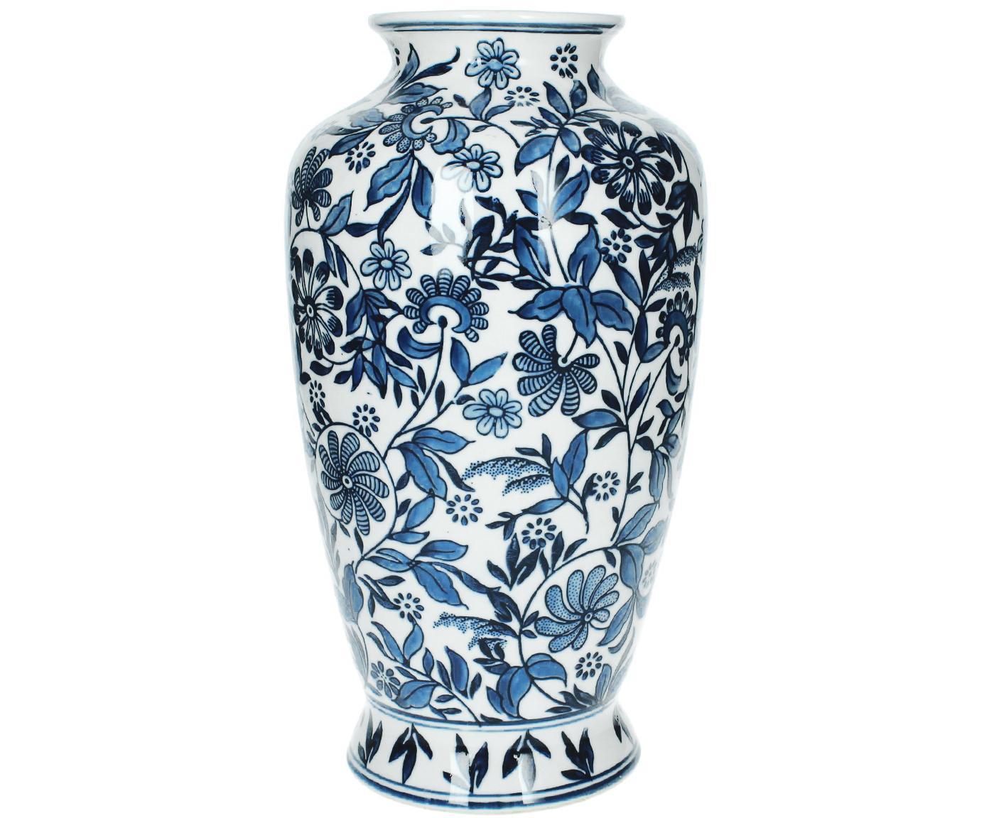 Jarrón de porcelana Lin, grande, Porcelana, no impermeable, Azul, blanco, Al 31 cm