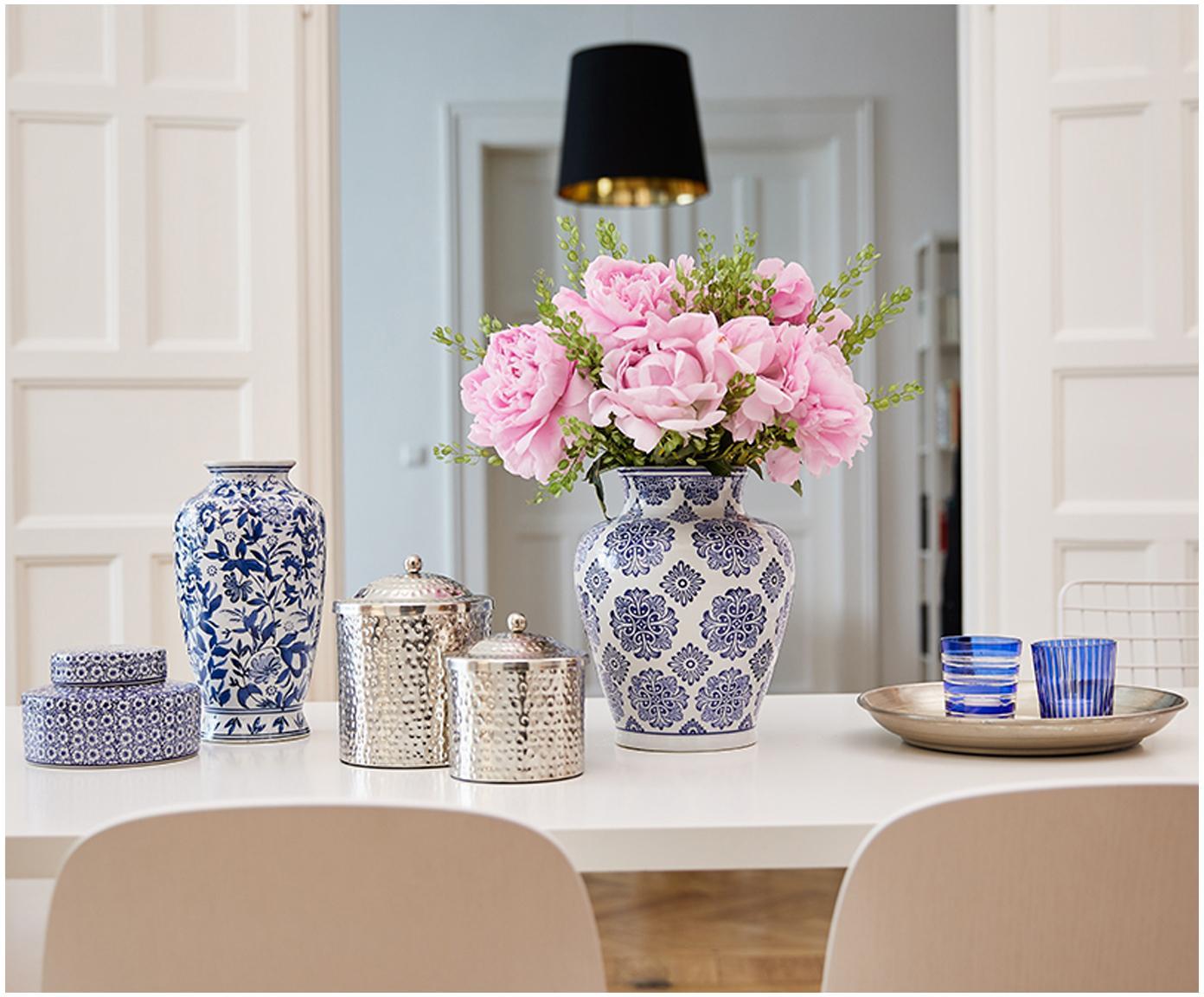 Duży wazon dekoracyjny z porcelany Lin, Porcelana, niewodoodporna, Niebieski, biały, W 31 cm