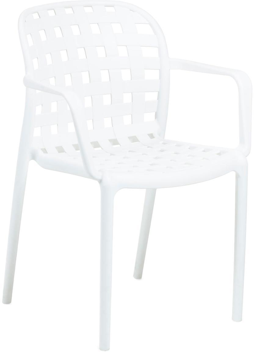 Stapelbare Gartenstühle Isa aus Kunststoff, 2 Stück, Kunststoff, Weiss, B 58 x T 58 cm