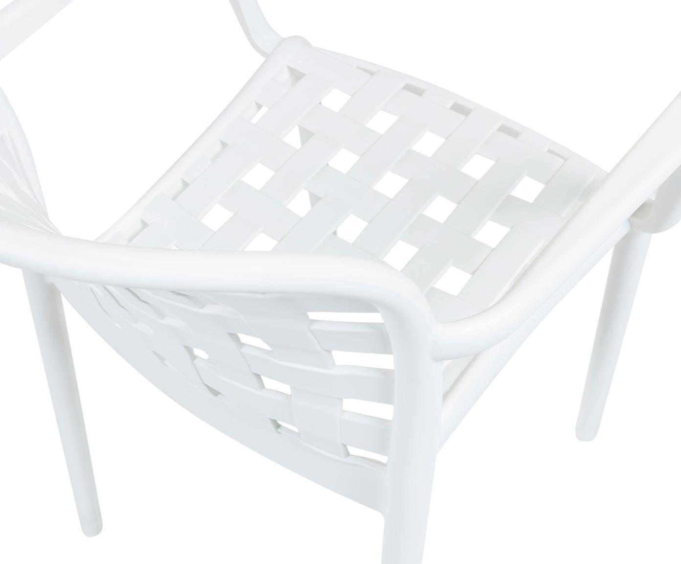 Krzesło ogrodowe składane z tworzywa sztucznego Isa, 2 szt., Tworzywo sztuczne, Biały, S 58 x G 58 cm