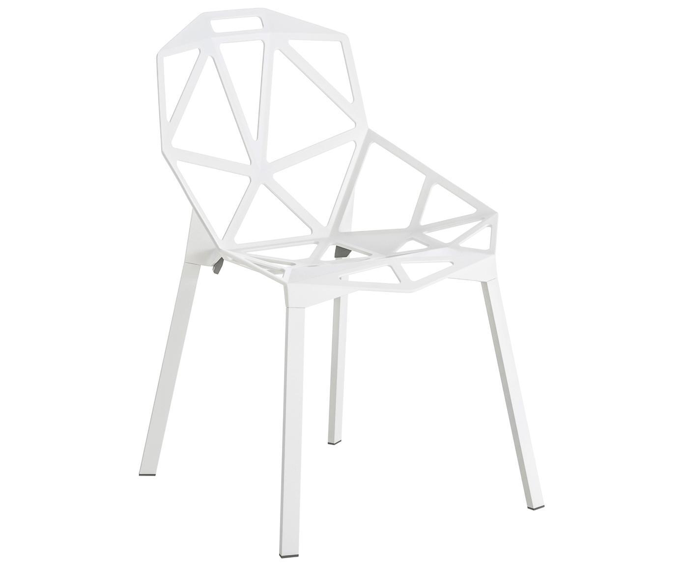 Design-Metallstuhl Chair One, Aluminium, druckgegossen, polyester-lackiert, Weiß, B 55 x T 59 cm
