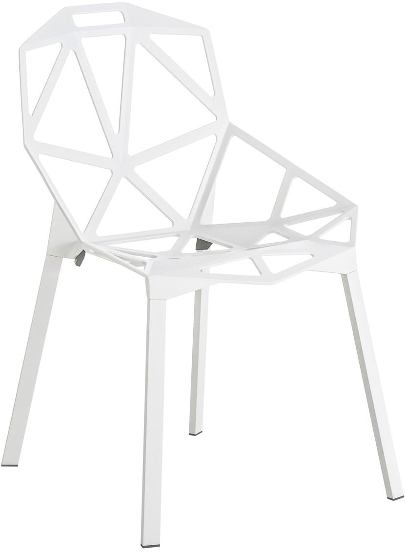 Metalen design stoel Chair One, Polyester gelakt gegoten aluminium, Wit, 55 x 82 cm