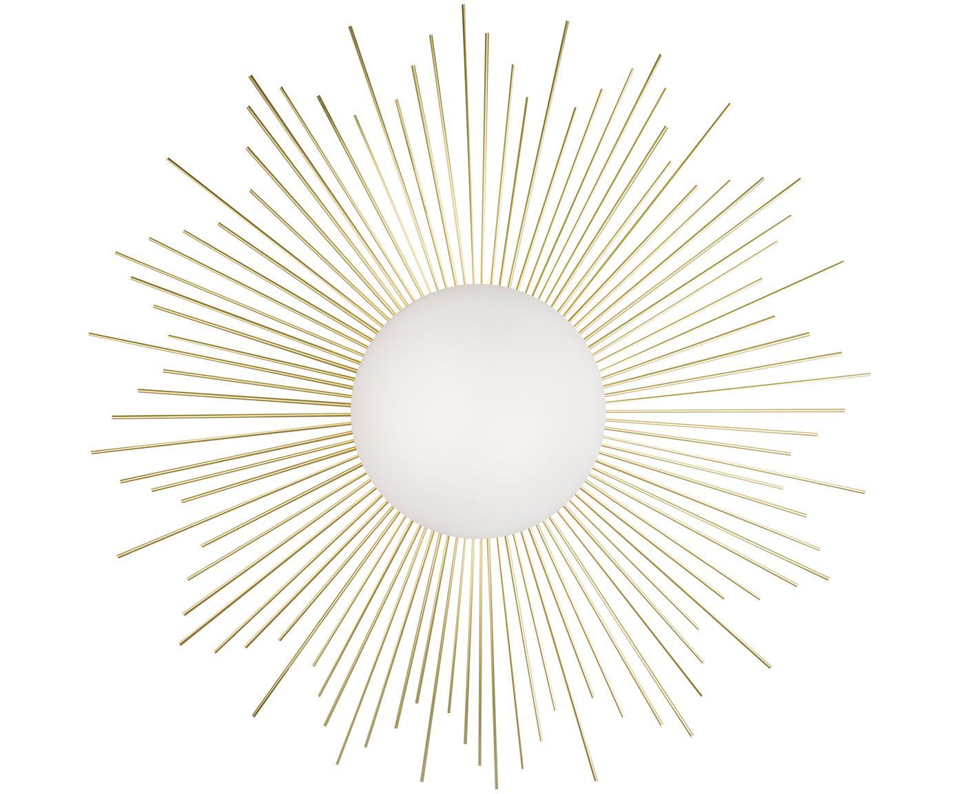 Wandlamp Shimy met stekker, Frame: messing, Lampenkap: glas, Messingkleurig, wit, Ø 56 x D 11 cm
