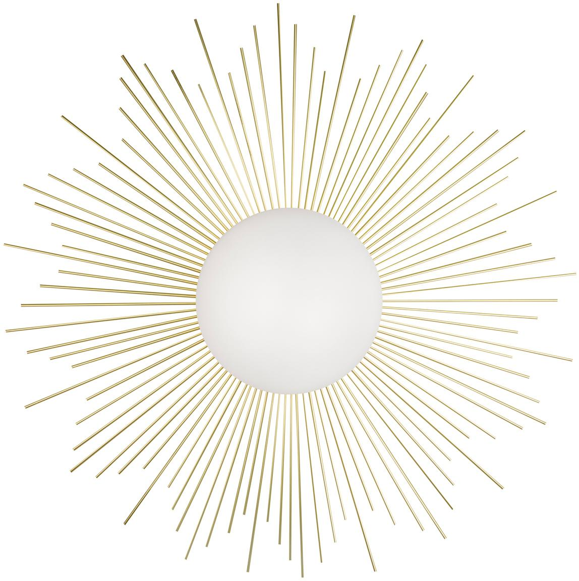 Applique con spina Soleil, Struttura: ottone, Paralume: vetro, Ottone, bianco, Ø 56 x Prof. 11 cm