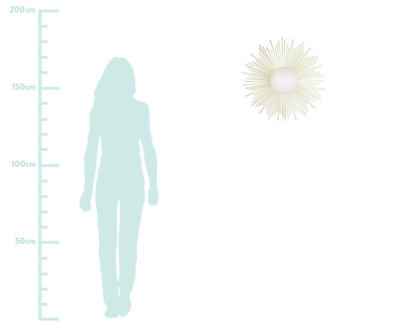 Kinkiet Soleil, Stelaż: mosiądz, Mosiądz, biały, Ø 56 x G 11 cm