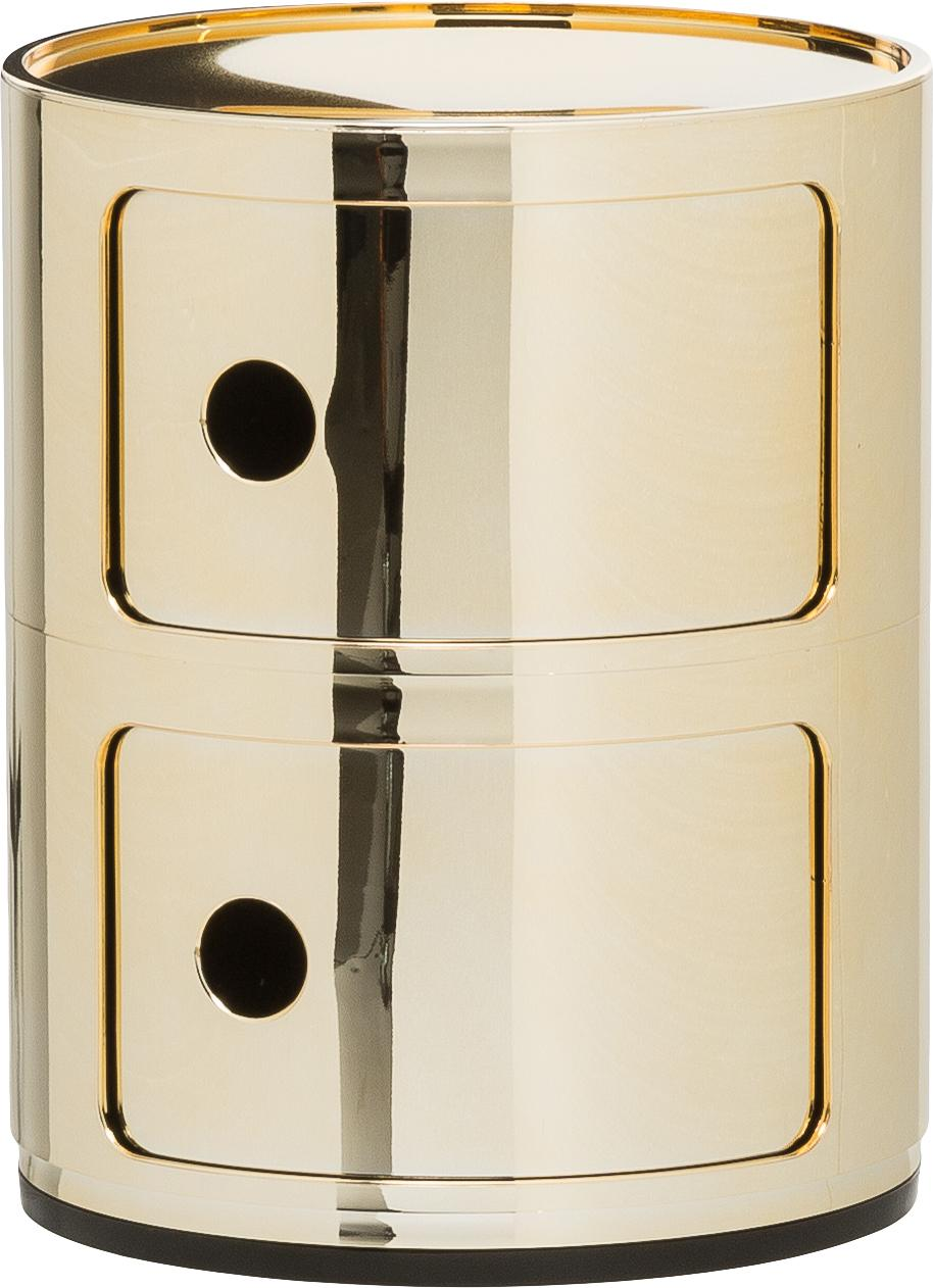 Design Container Componibili 2 Fächer, Kunststoff, metallicbeschichtet, Goldfarben, Ø 32 x H 40 cm