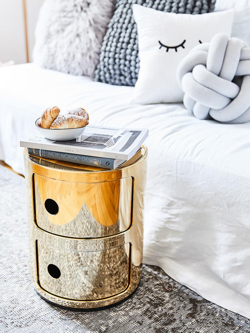 Pequeña mesa auxiliar de diseño Componibile, Plástico, metalizado, Dorado, Ø 32 x Al 40 cm