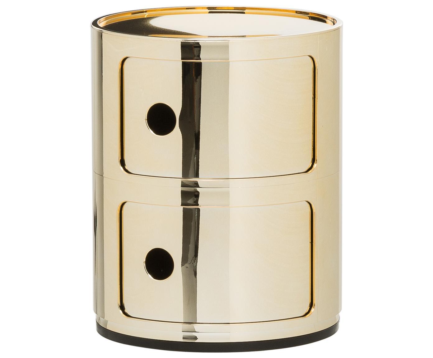 Mały stolik pomocniczy Componibile, Tworzywo sztuczne, powlekane metalem, Odcienie złotego, Ø 32 x W 40 cm