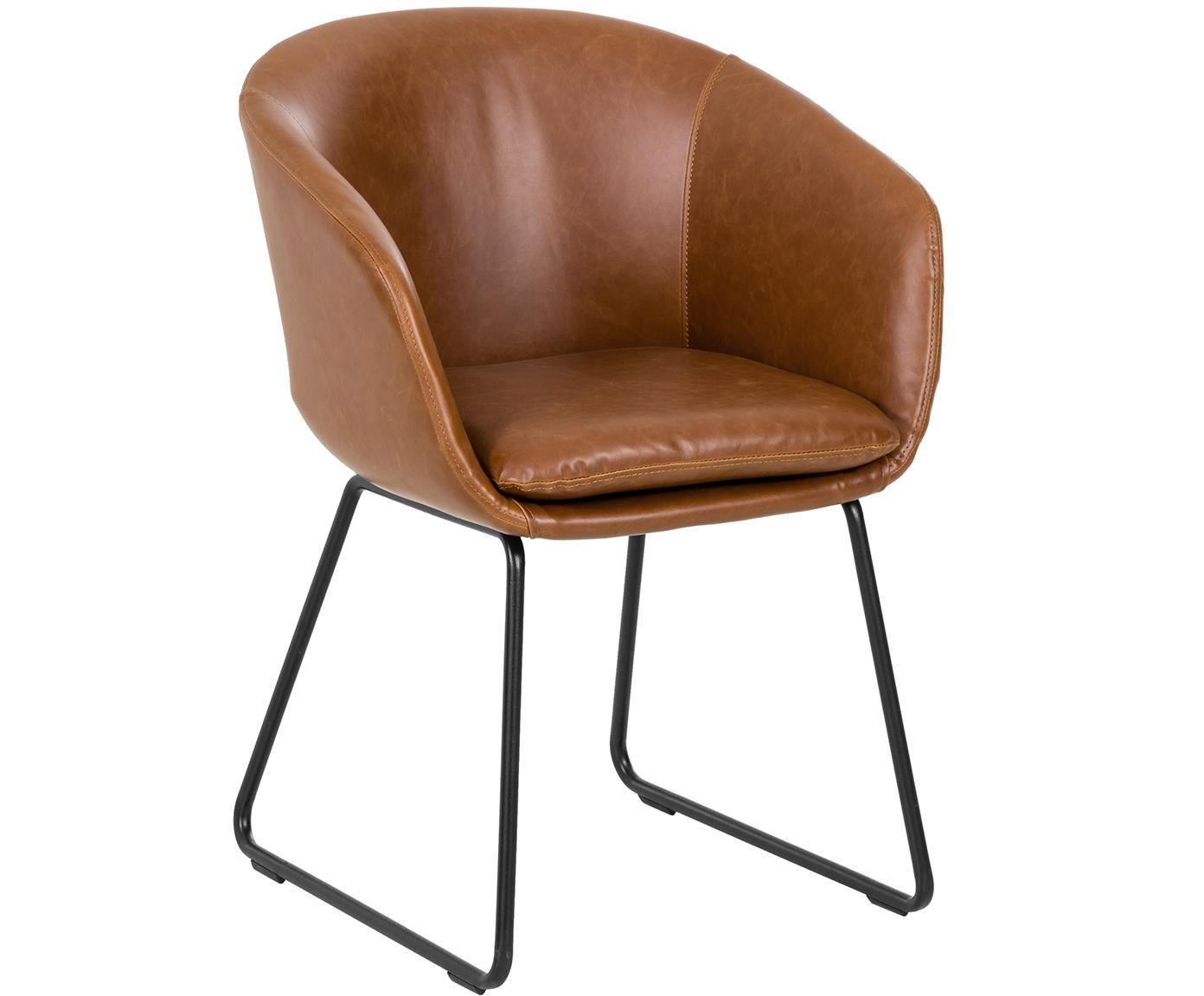 Krzesło z podłokietnikami ze sztucznej skóry  Juri, Tapicerka: sztuczna skóra (poliureta, Nogi: metal malowany proszkowo, Odcienie koniakowego, S 55 x G 57 cm