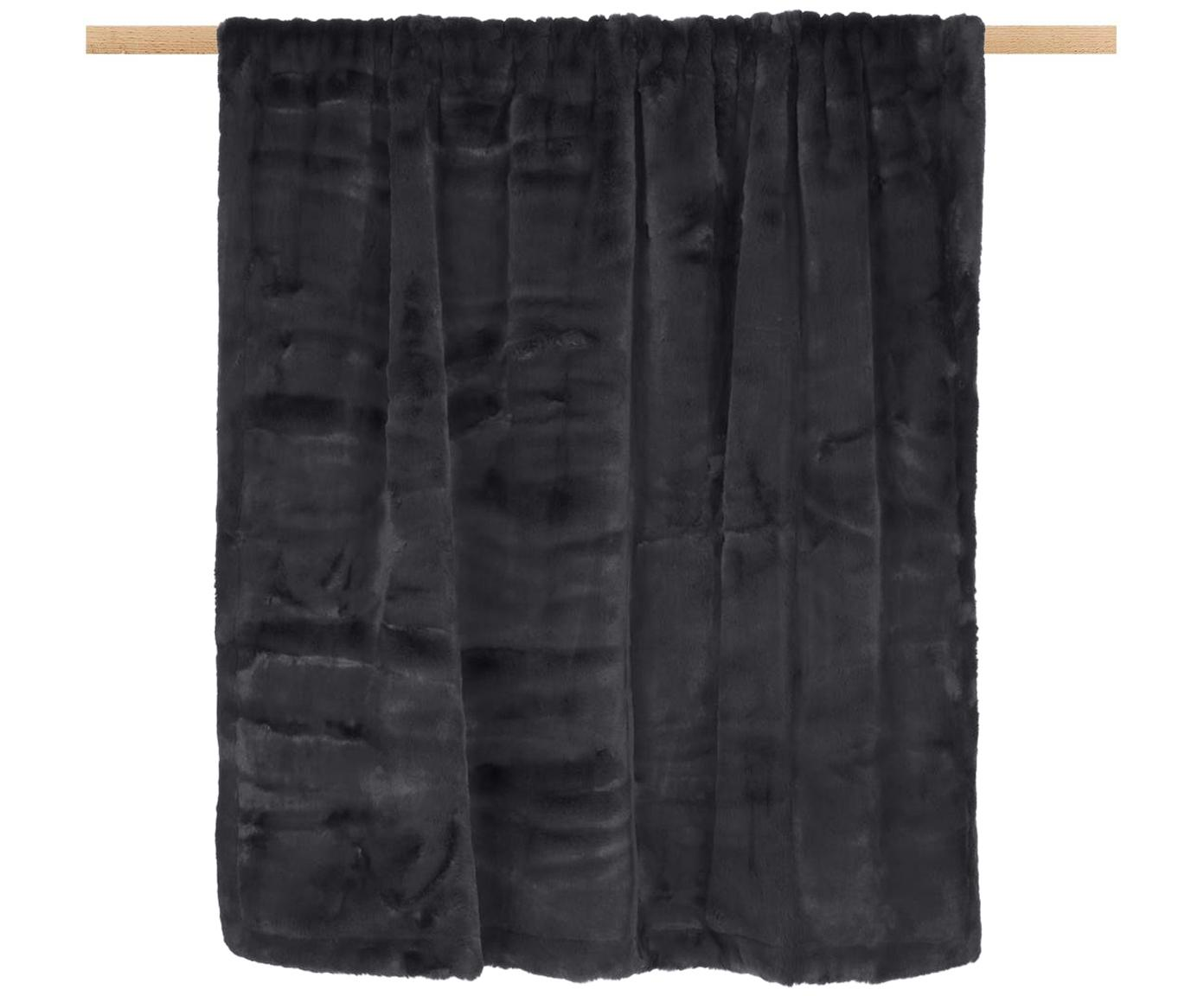 Plaid in ecopelliccia Mette, Retro: 100% poliestere, Grigio scuro, Larg. 150 x Lung. 200 cm