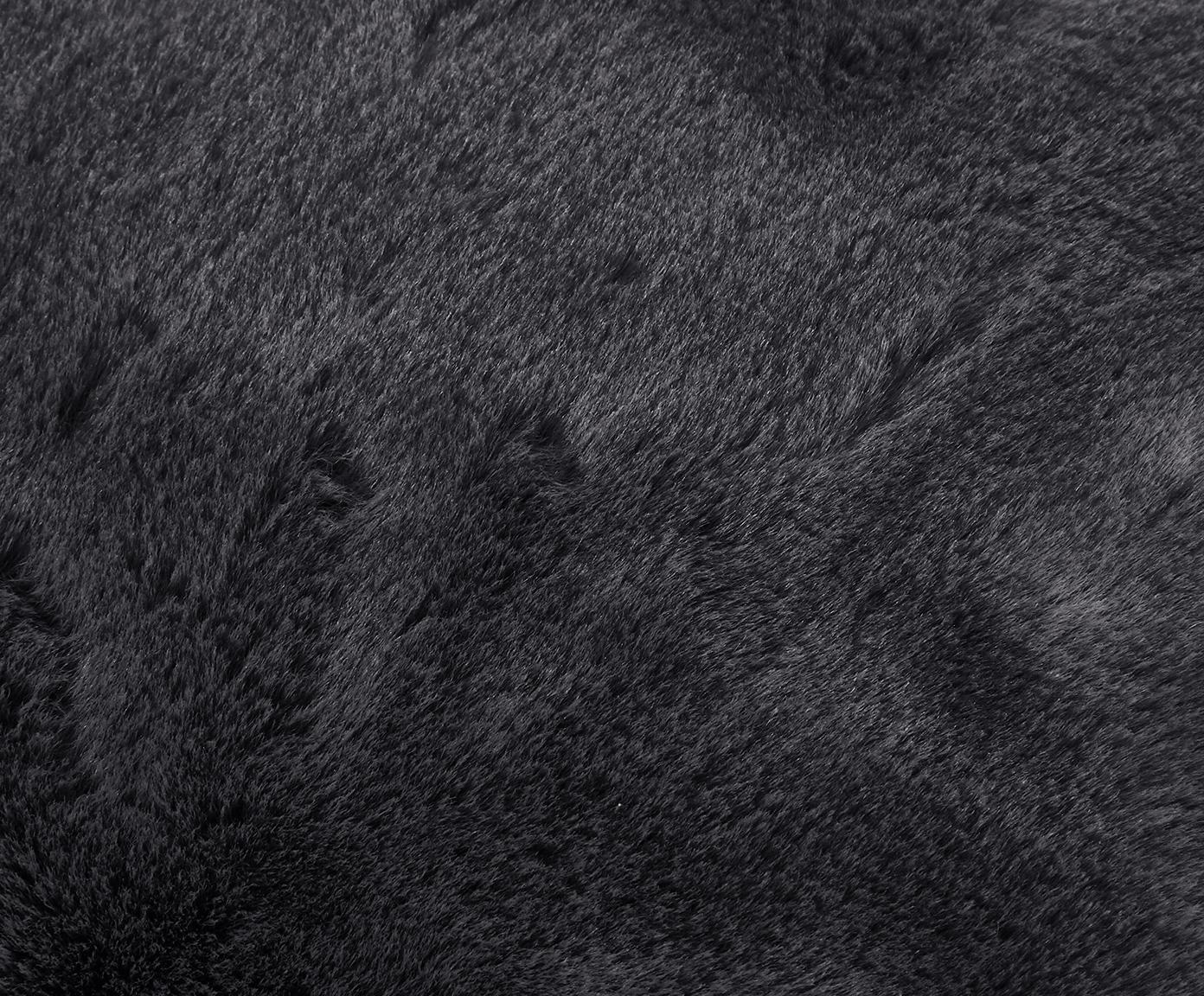 Pled ze sztucznego futra Mette, gładki, Ciemny szary, S 150 x D 200 cm