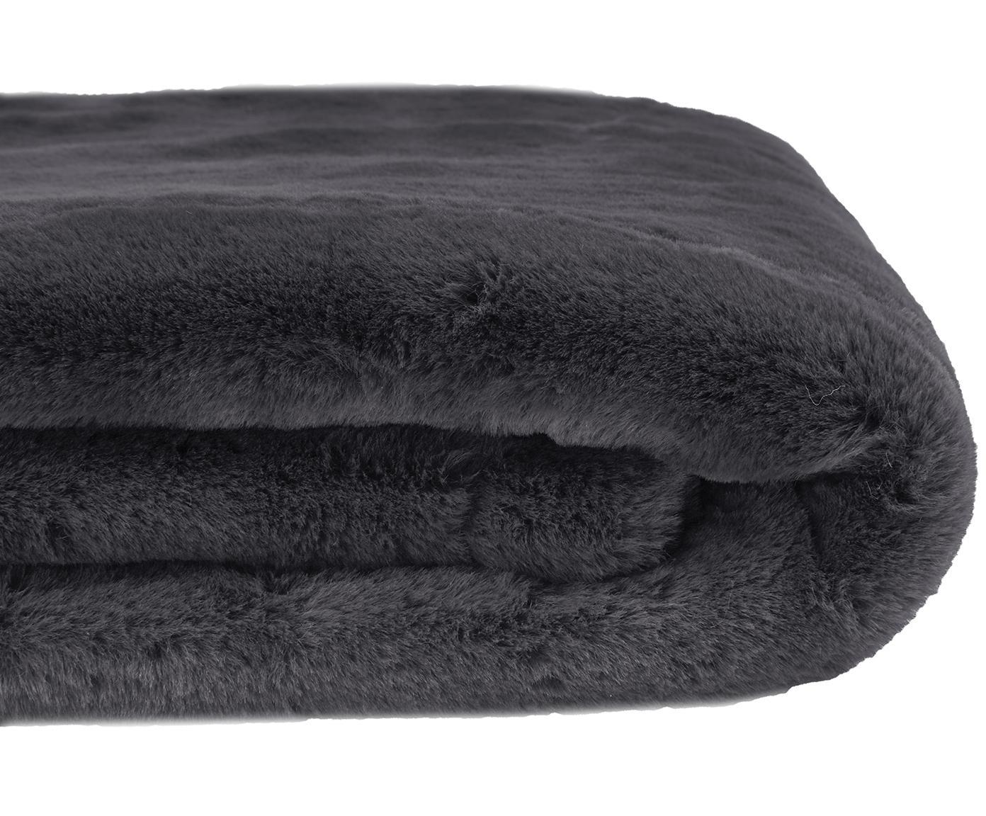 Kunstfell-Plaid Mette, glatt, Vorderseite: 100% Polyester, Rückseite: 100% Polyester, Dunkelgrau, 150 x 200 cm