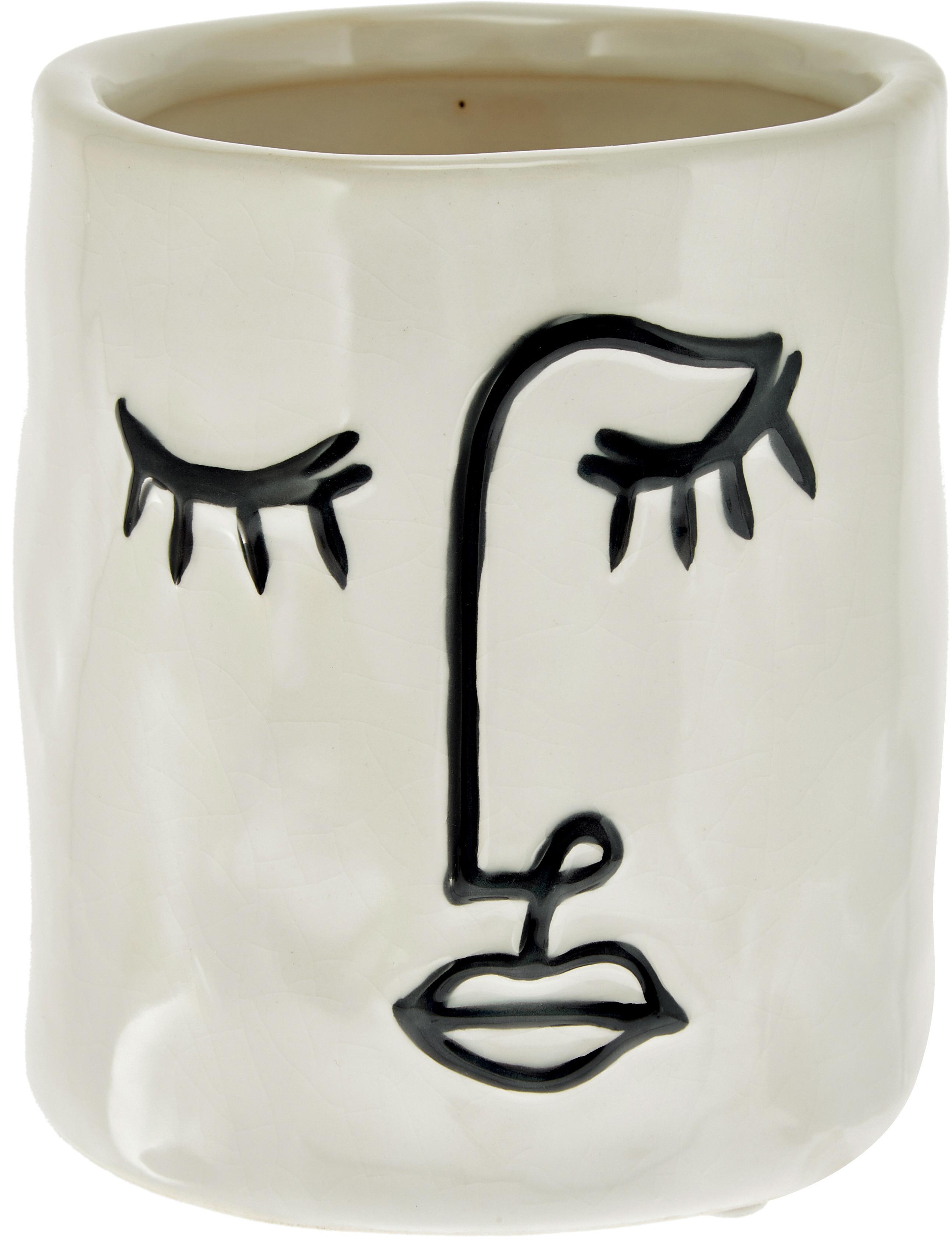 Kleine plantenpot Face van keramiek, Keramiek, Gebroken wit, zwart, Ø 12 x H 13 cm