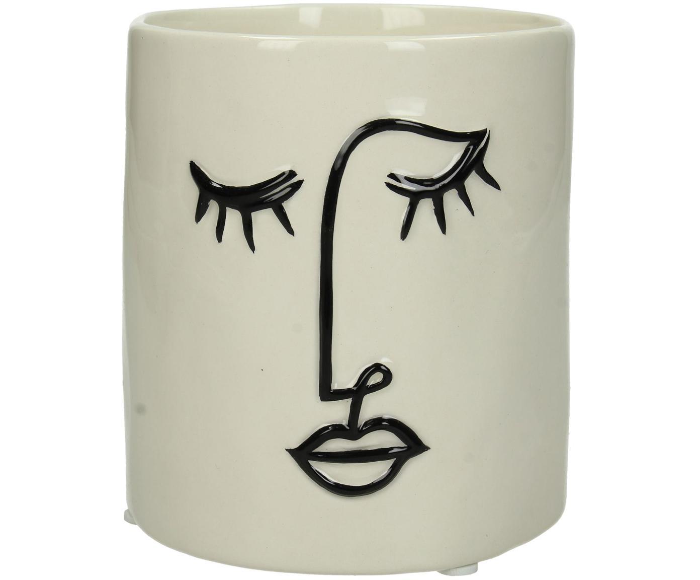 Portavaso Face, Terracotta, Bianco latteo, nero, Ø 12 x Alt. 13 cm