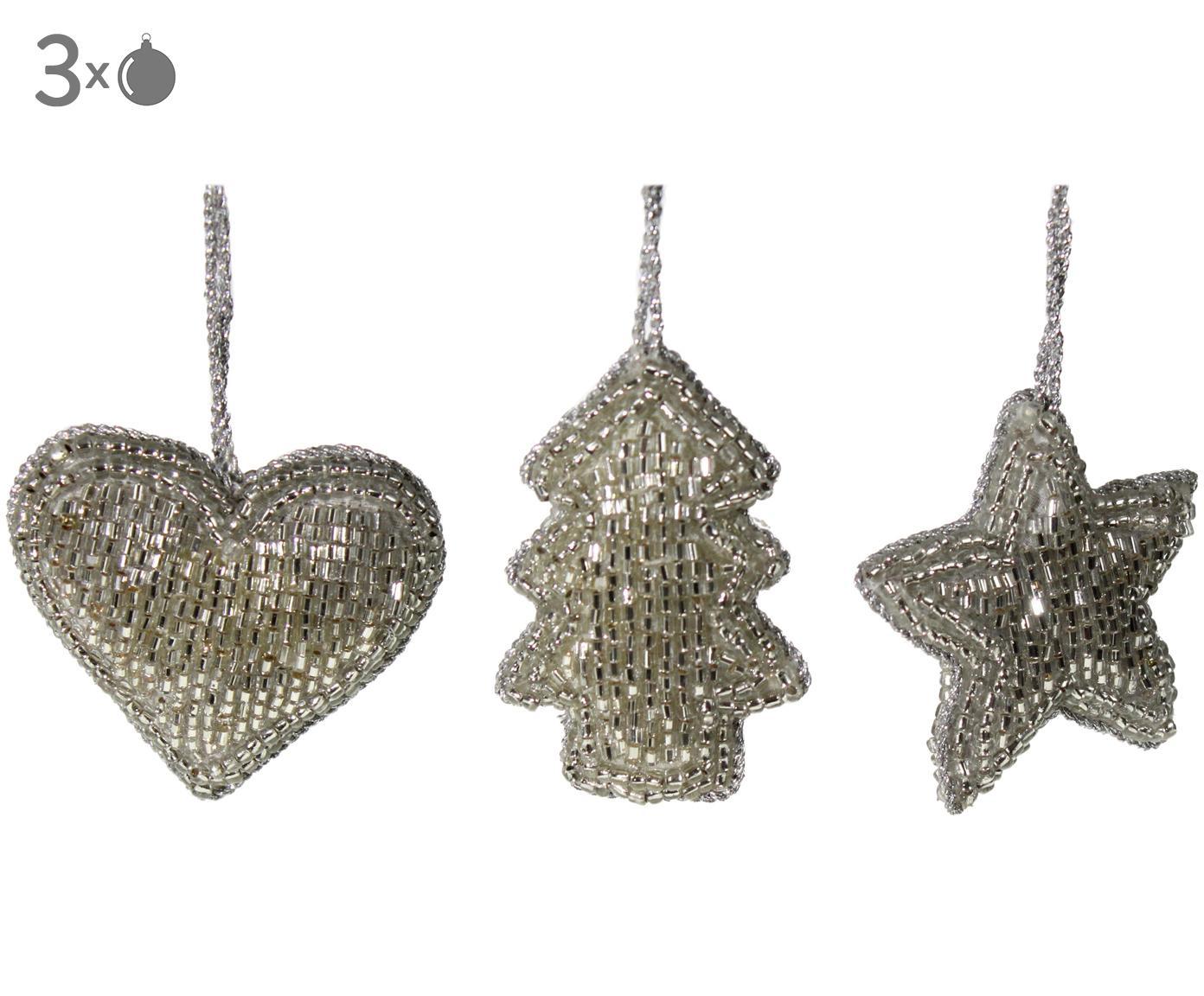 Komplet ozdób choinkowych Pearl, 3 elem., Tworzywo sztuczne, Odcienie srebrnego, S 6 x W 6 cm
