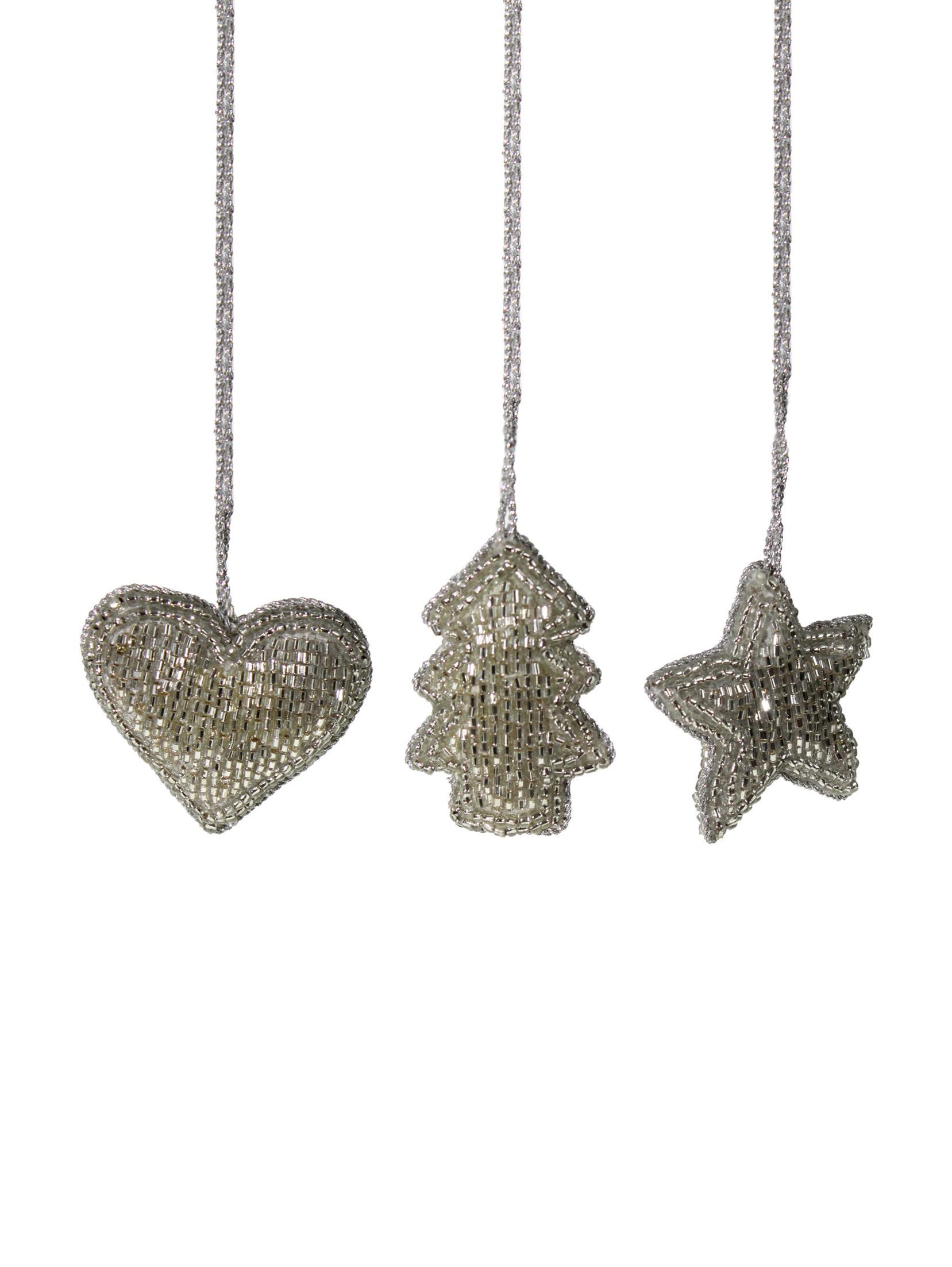 Set de adornos navideños Pearl, 3pzas., Plástico, Plateado, Ancho 6 x Alto 6 cm