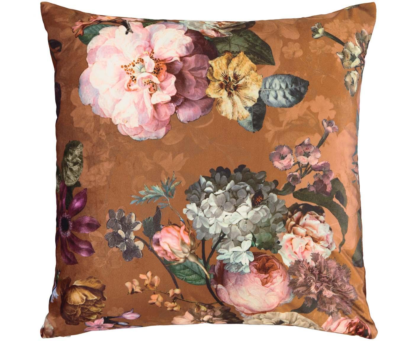 Samt-Kissen Fleur mit Blumenmuster, mit Inlett, Bezug: 100% Polyestersamt, Braun, Mehrfarbig, 50 x 50 cm