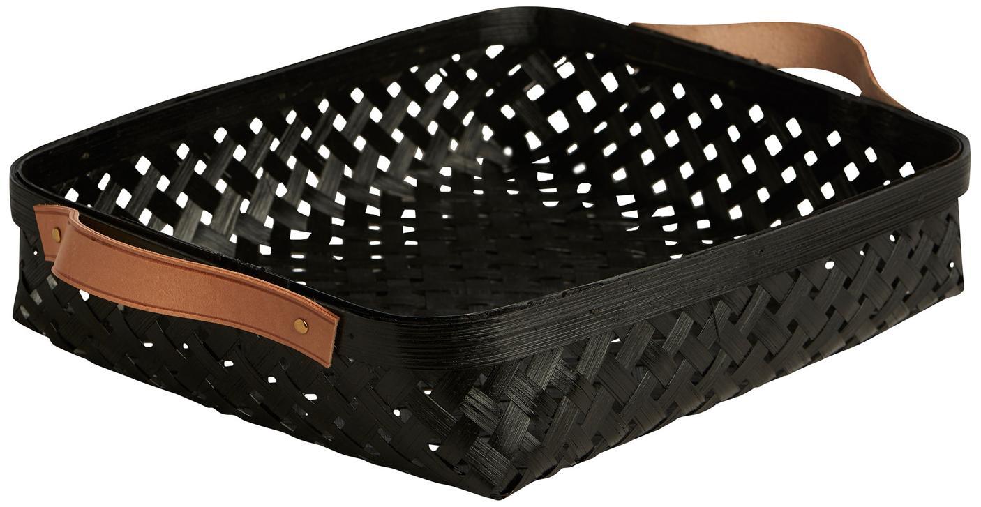 Panera de bambú Sporta, Cesta: madera de bambú, Asas: cuero, Negro, marrón, An 30 x Al 6 cm