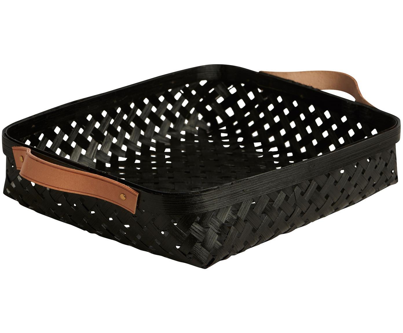 Cestino per il pane in bambù Sporta, Maniglie: pelle, Nero, marrone, Larg. 30 x Alt. 6 cm